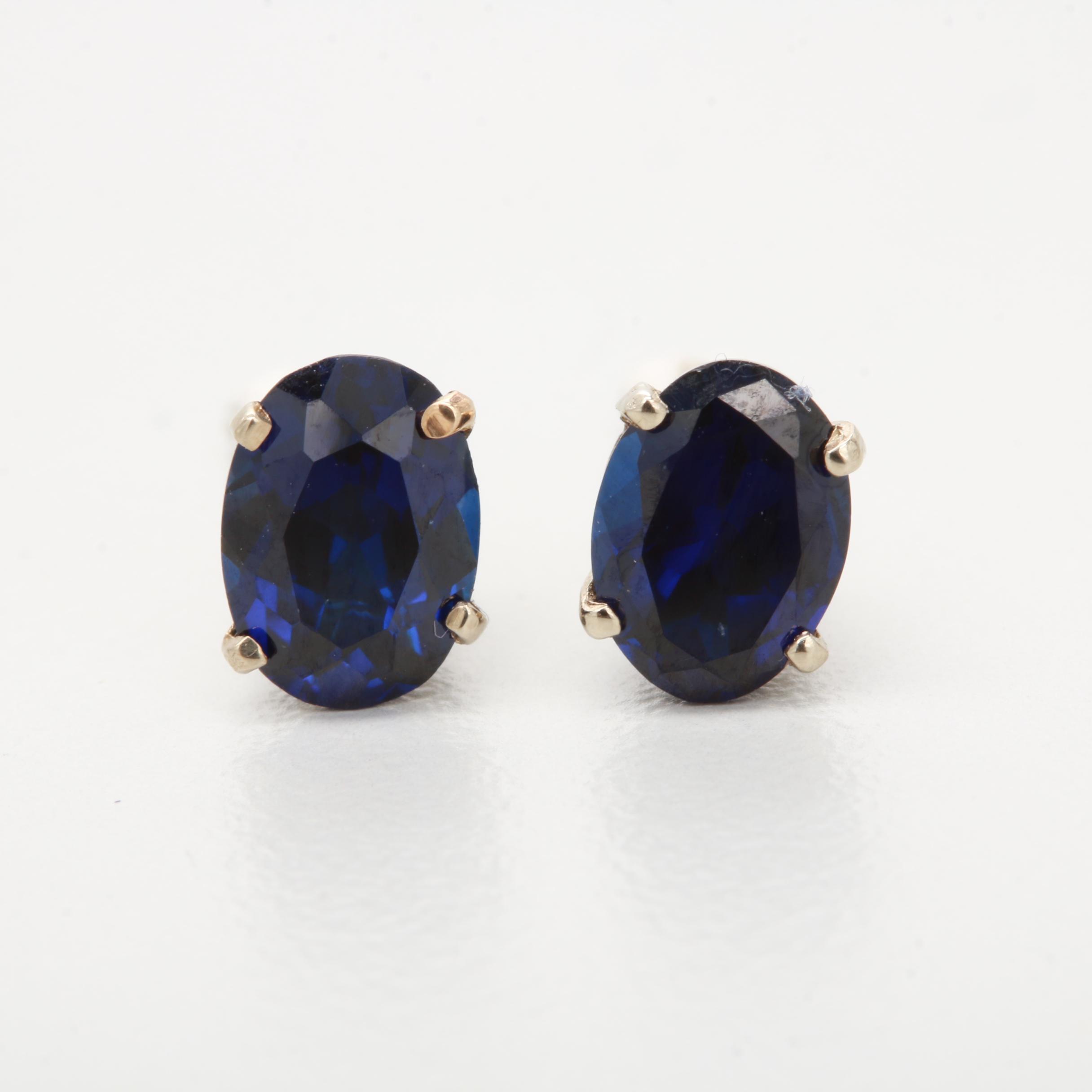 14K Yellow Gold Synthetic Sapphire Stud Earrings