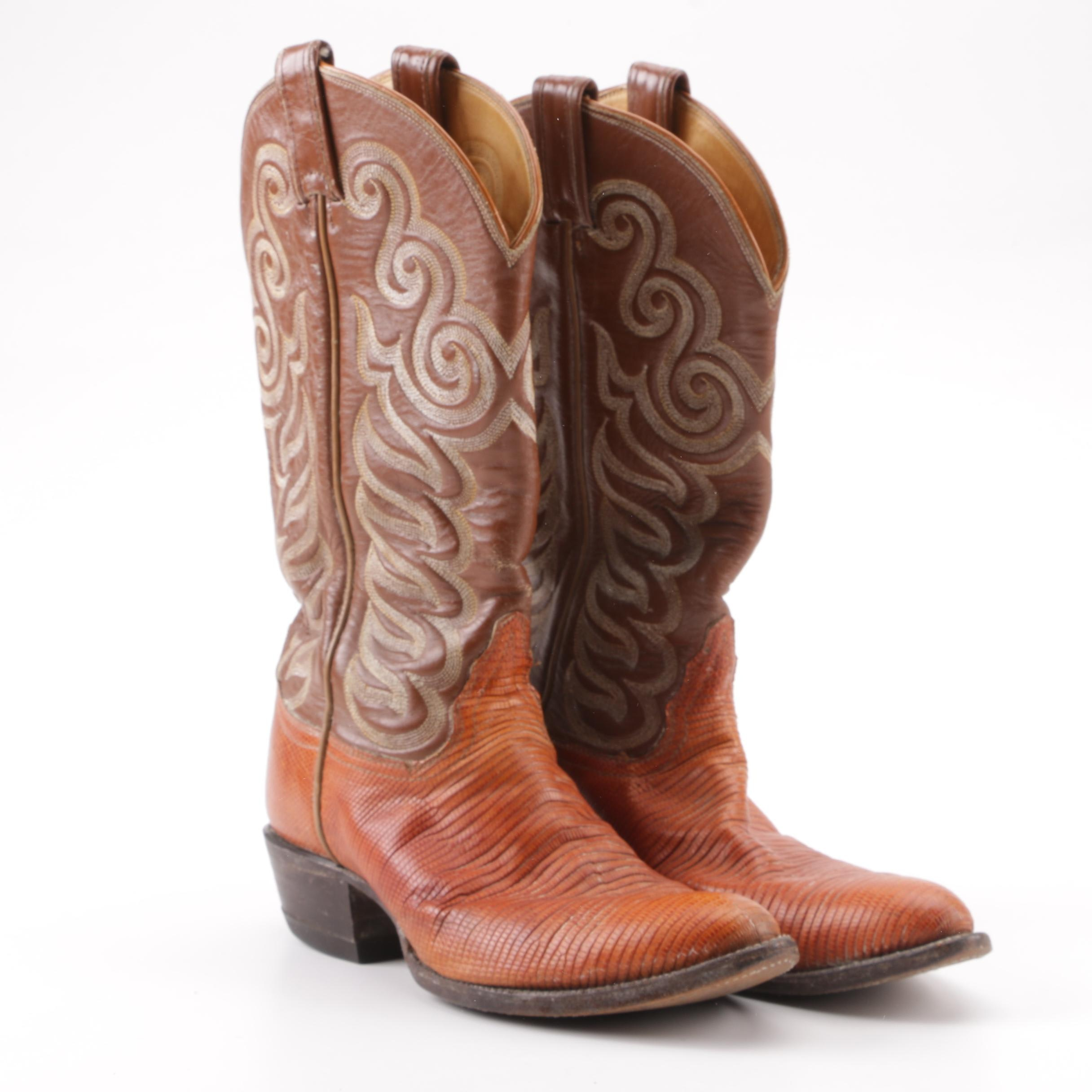 Tony Lama Brown Leather and Lizard Skin Western Boots