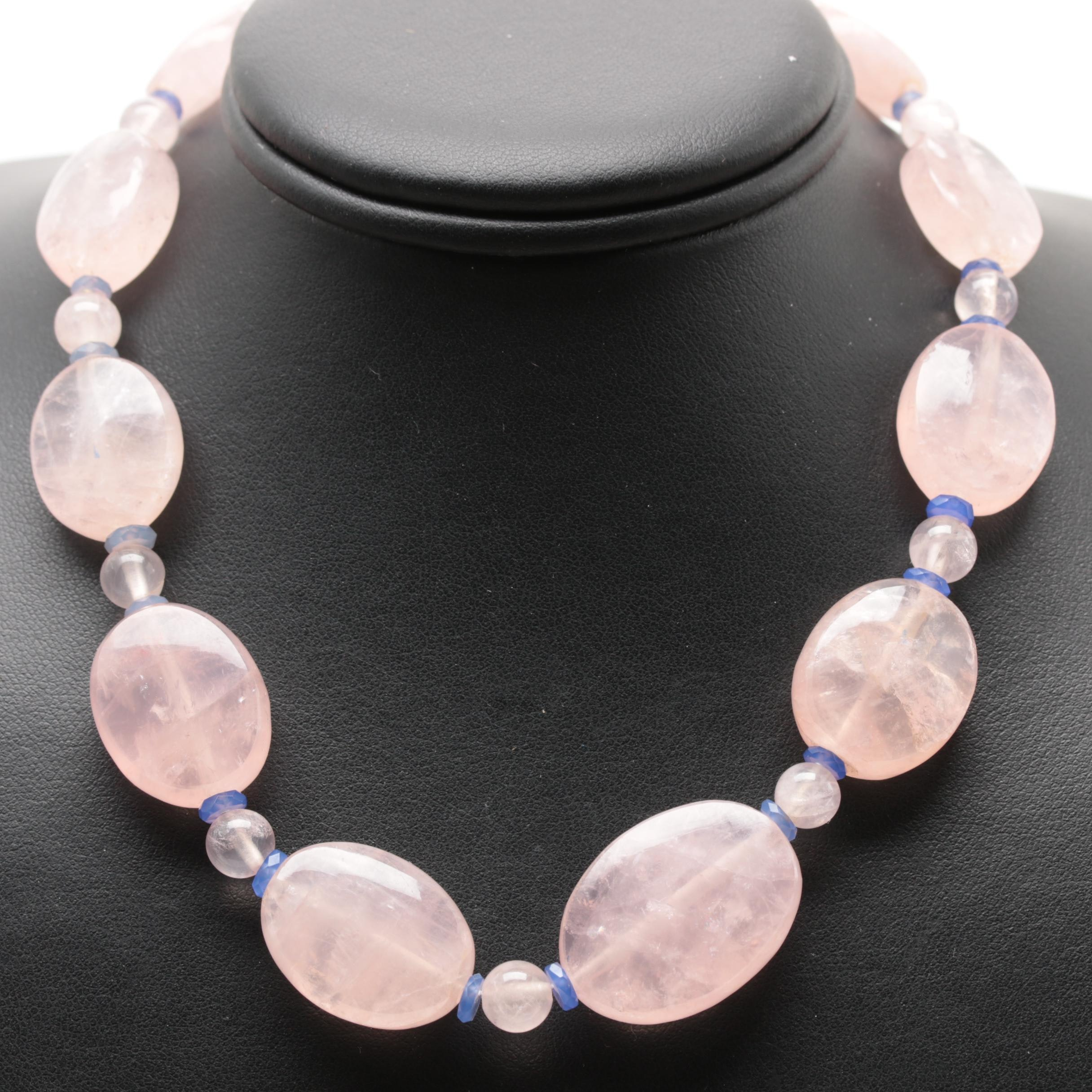 10K Yellow Gold Rose Quartz and Glass Beaded Necklace