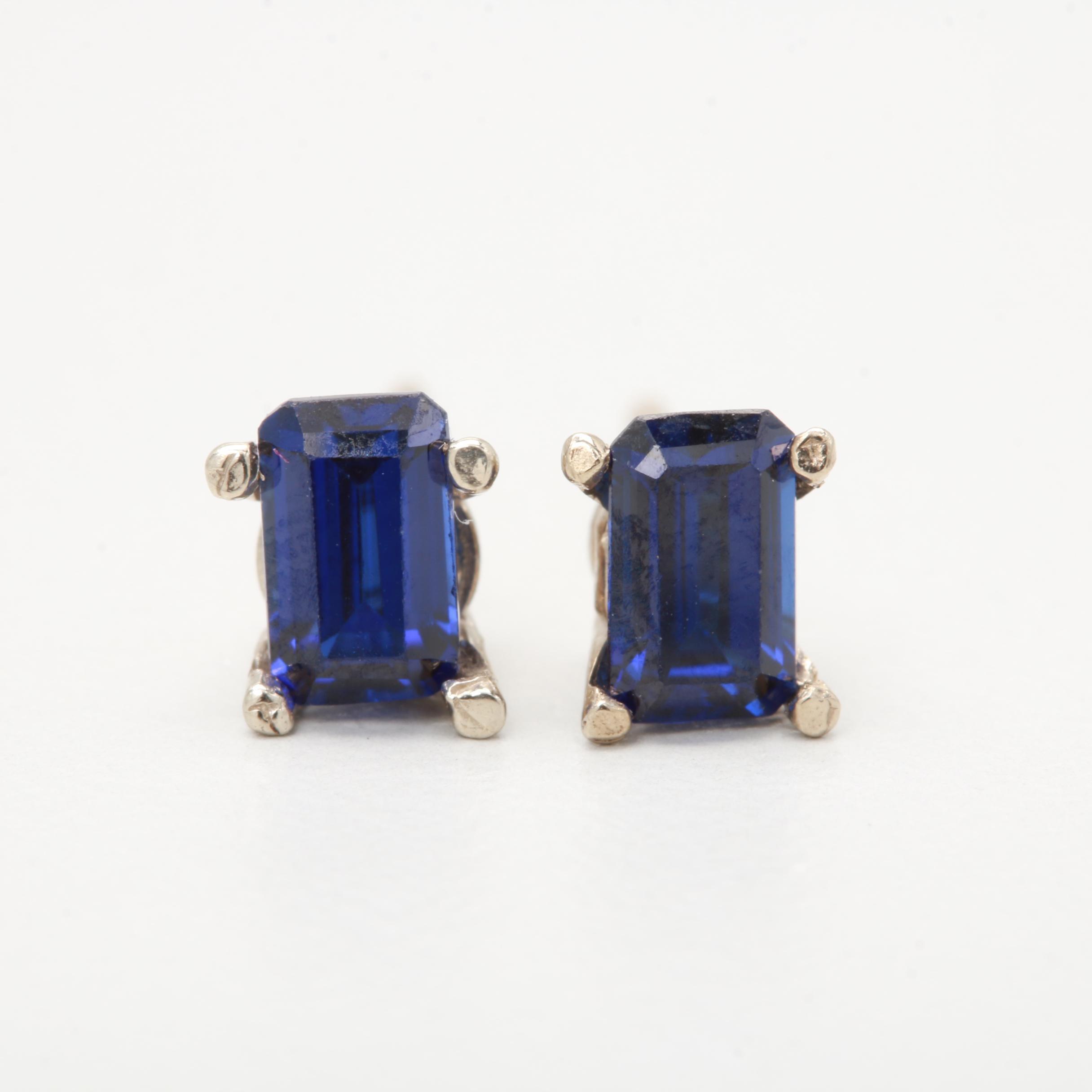 14K White Gold Synthetic Sapphire Stud Earrings