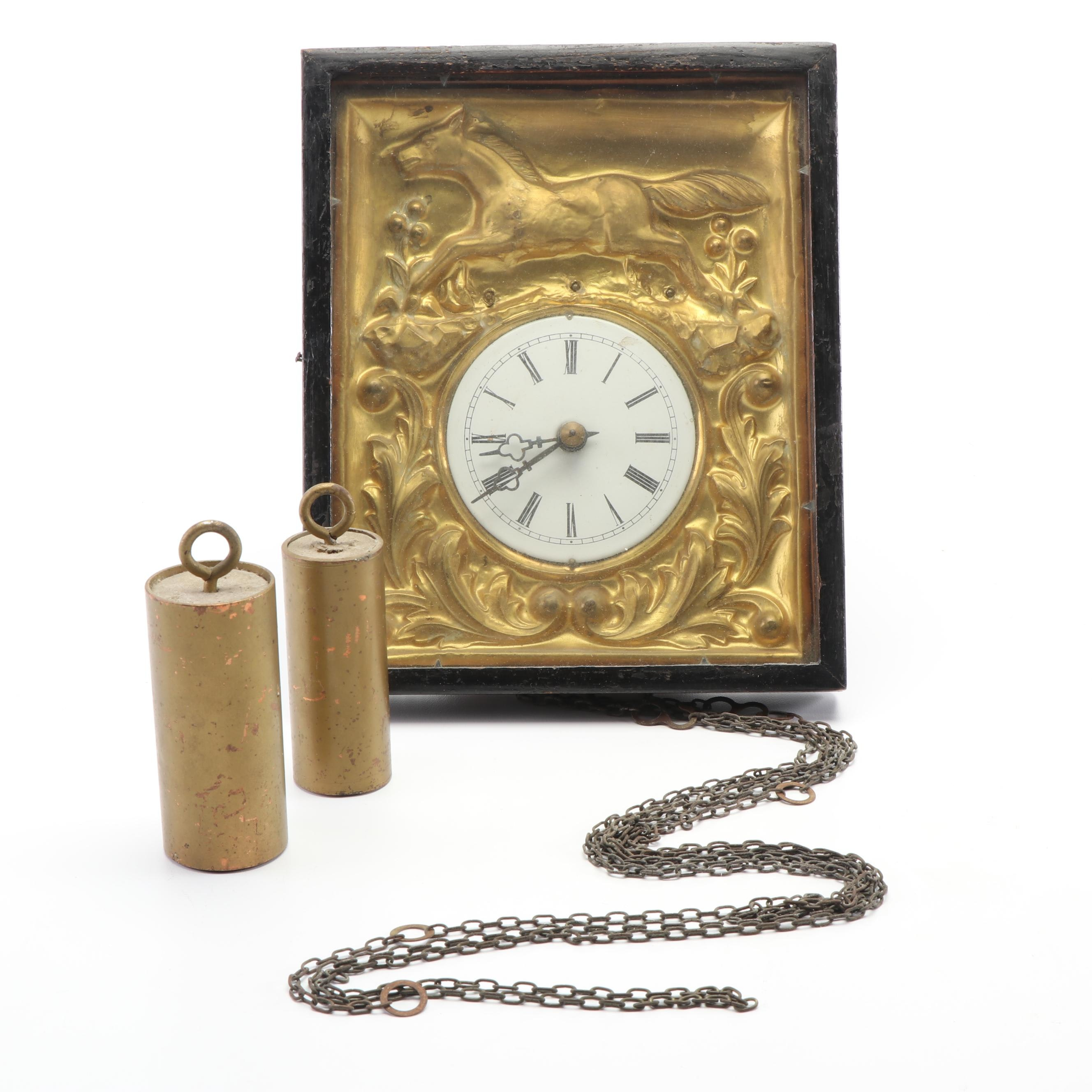 Black Forest Style Picture Frame Wall Clock, Late 19th - Early 20th Century