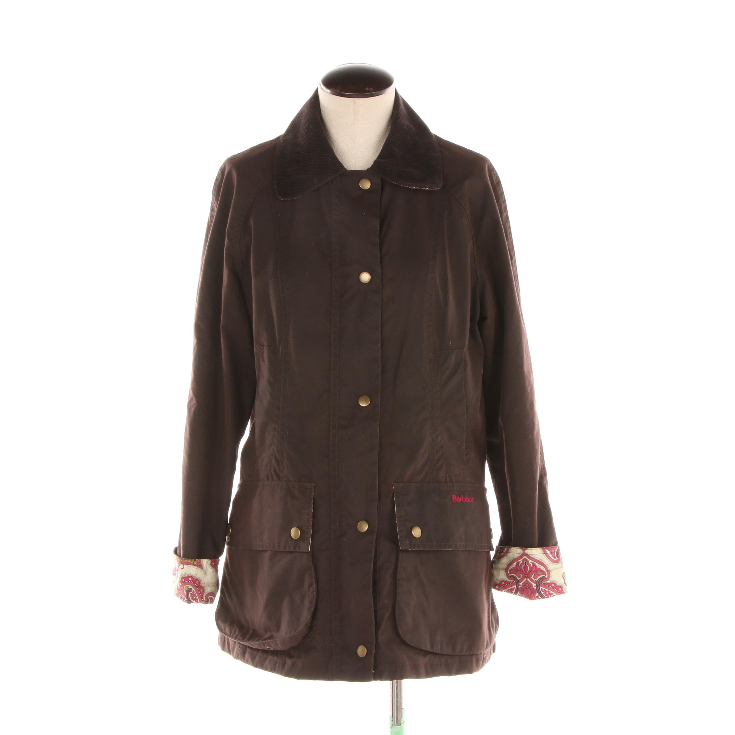 Women's Barbour Beadnell Chocolate Brown Waxed Cotton Barn Coat