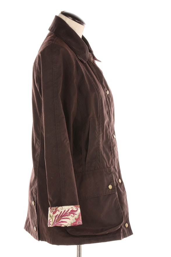 Women's Barbour Beadnell Chocolate Brown Waxed Cotton Barn ...