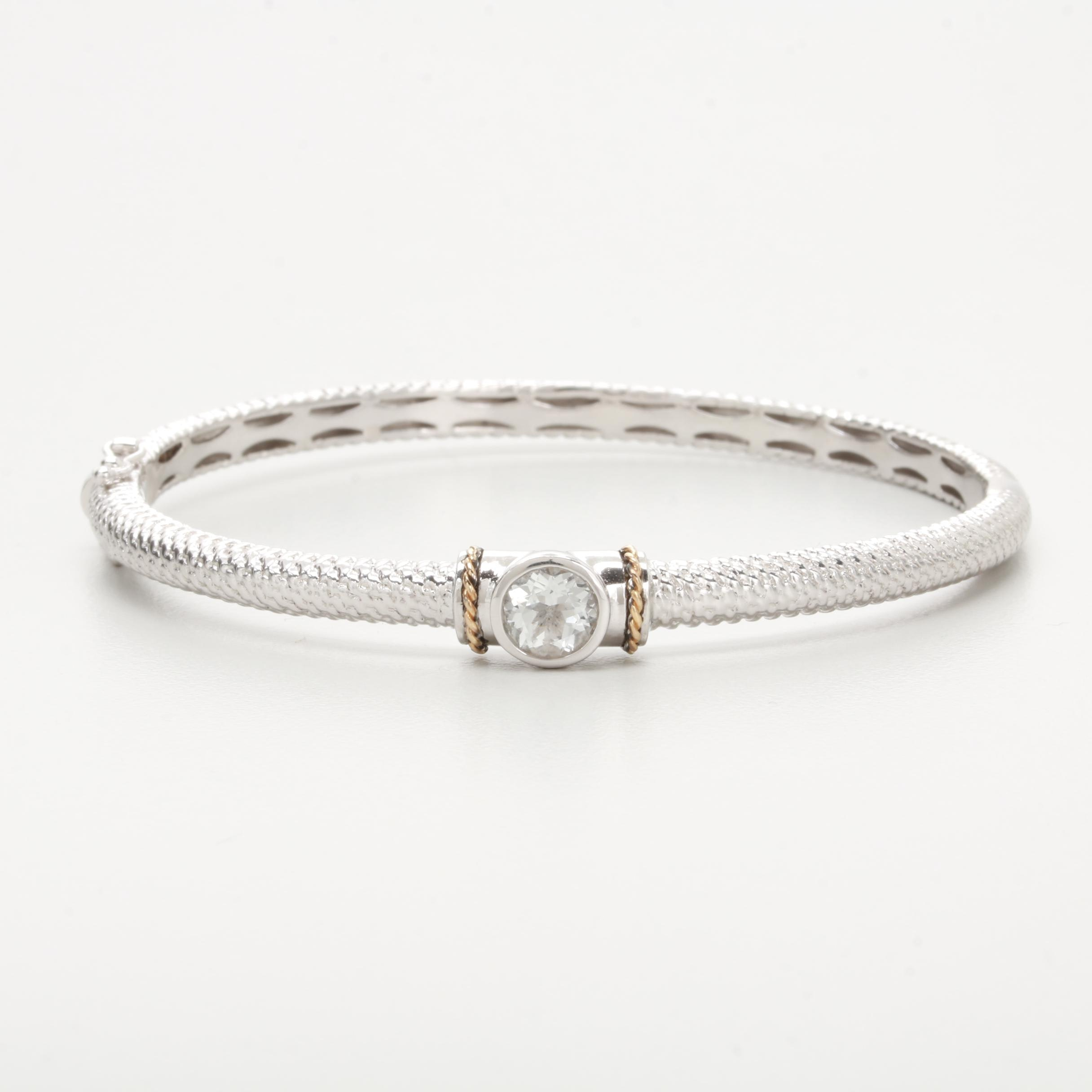 Sterling Silver White Topaz Bracelet with 14K Yellow Gold Accents