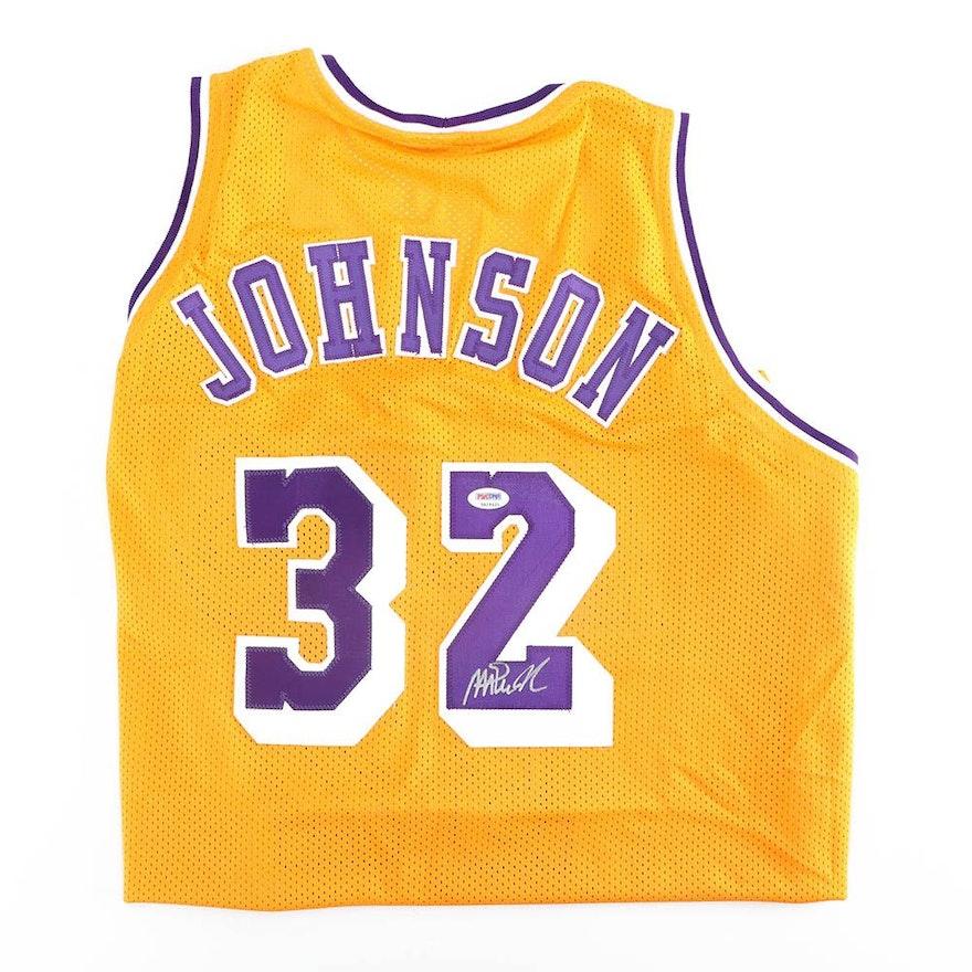 Magic Johnson Autographed Los Angeles Lakers Replica Jersey - PSA DNA COA    EBTH 53cfea804