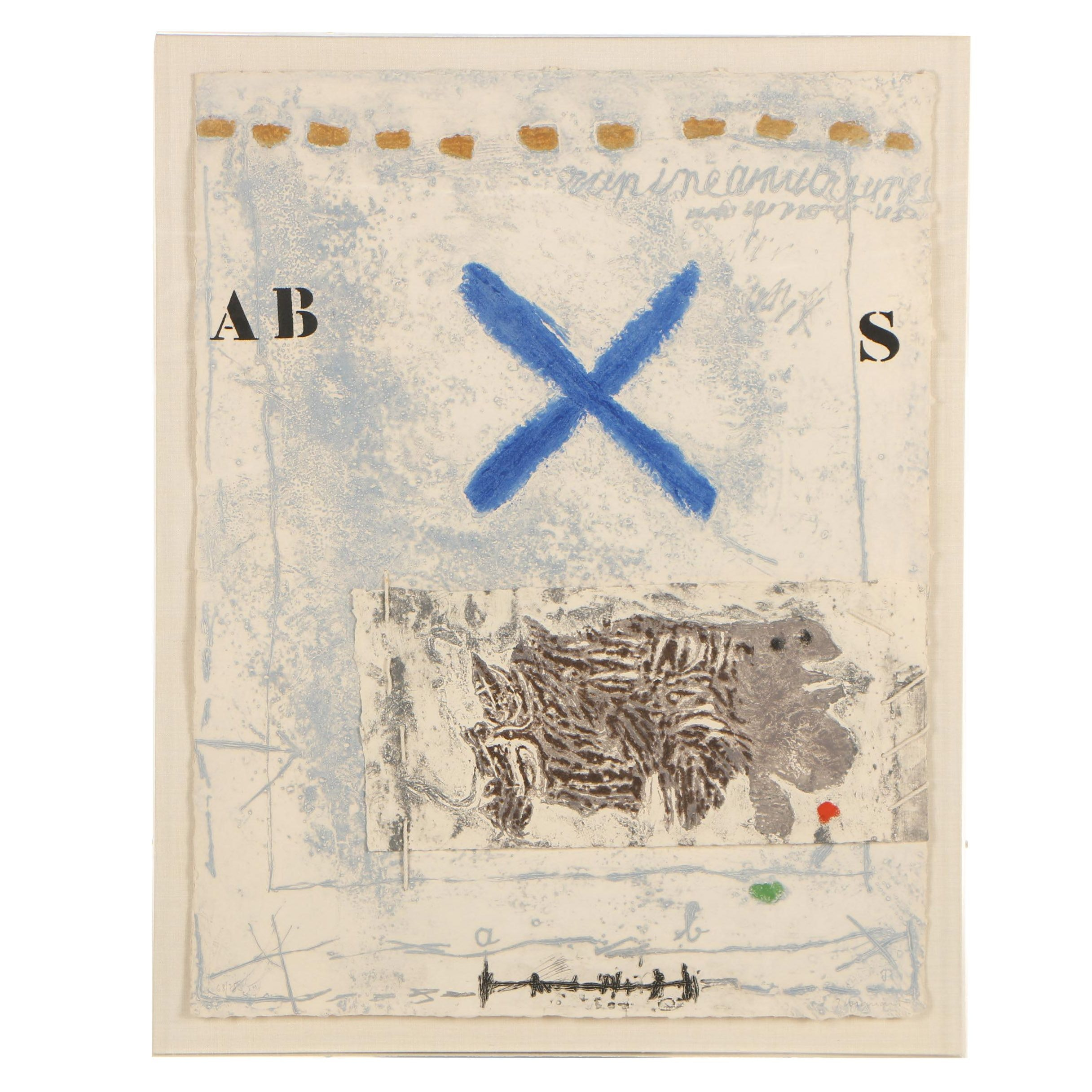 "James Coignard 1977 Abstract Mixed Media ""Chevelure"""