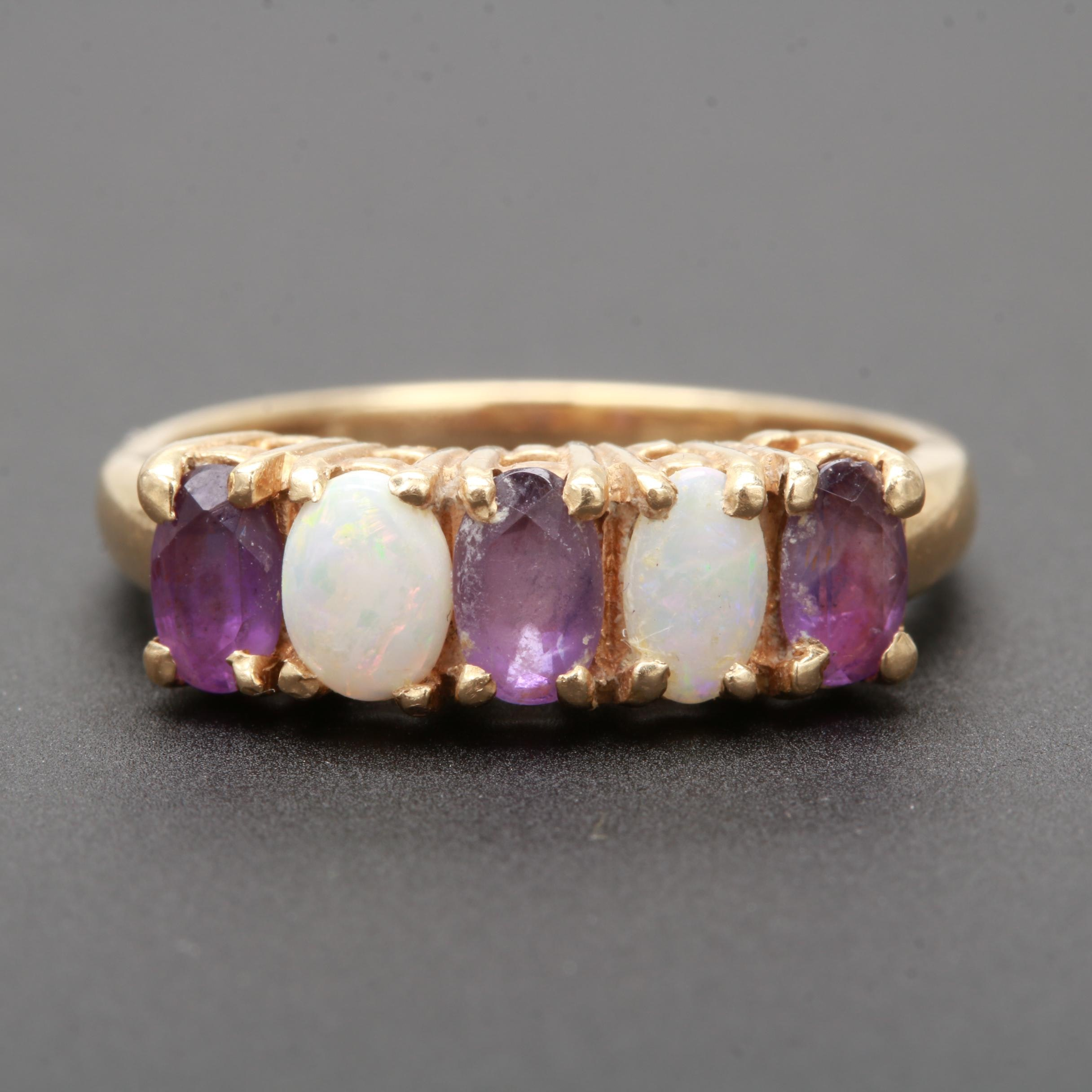14K Yellow Gold Opal and Amethyst Ring