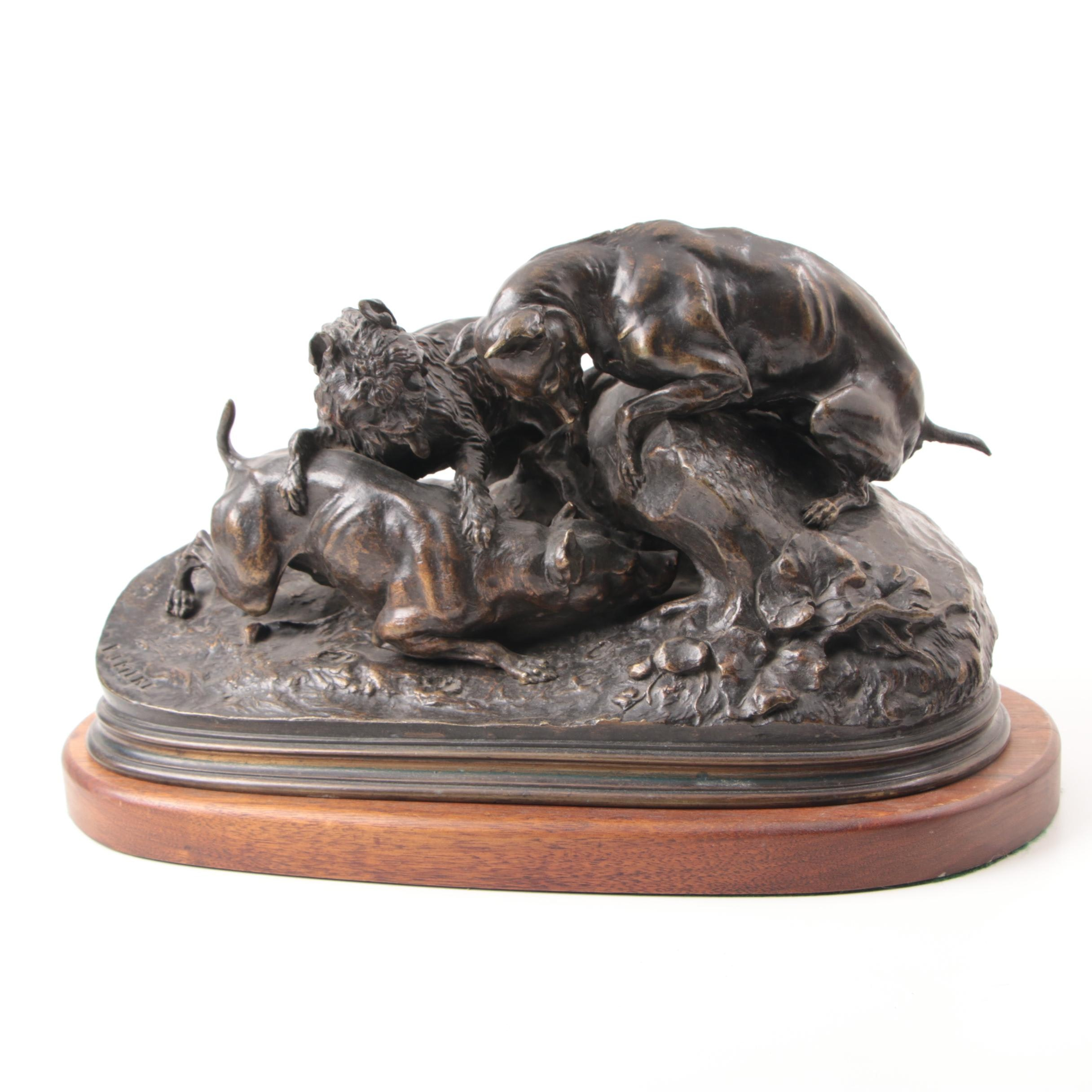 "Pierre Jules Mène Bronze Sculpture ""Three Hunting Dogs"""