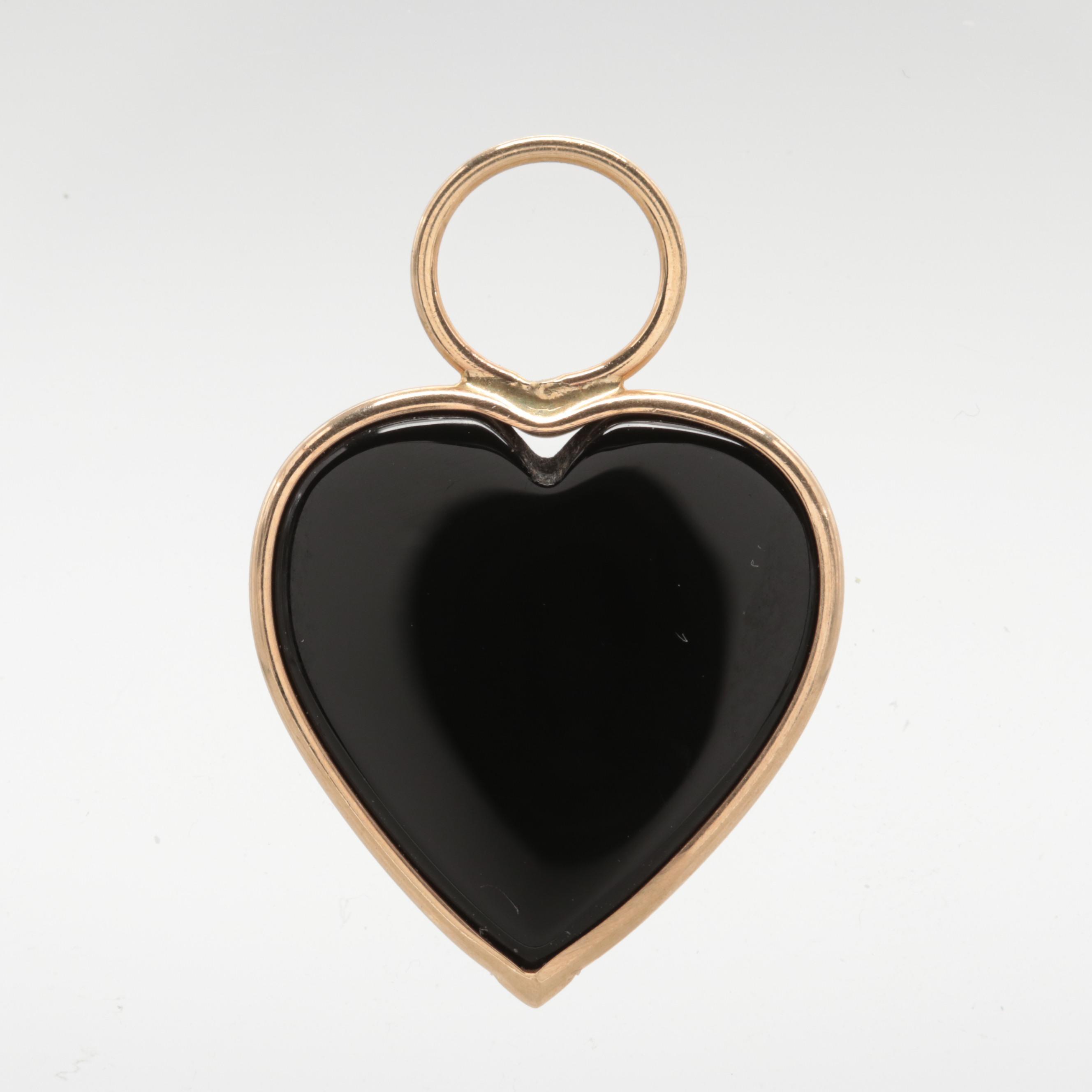 14K Yellow Gold Onyx Heart Pendant