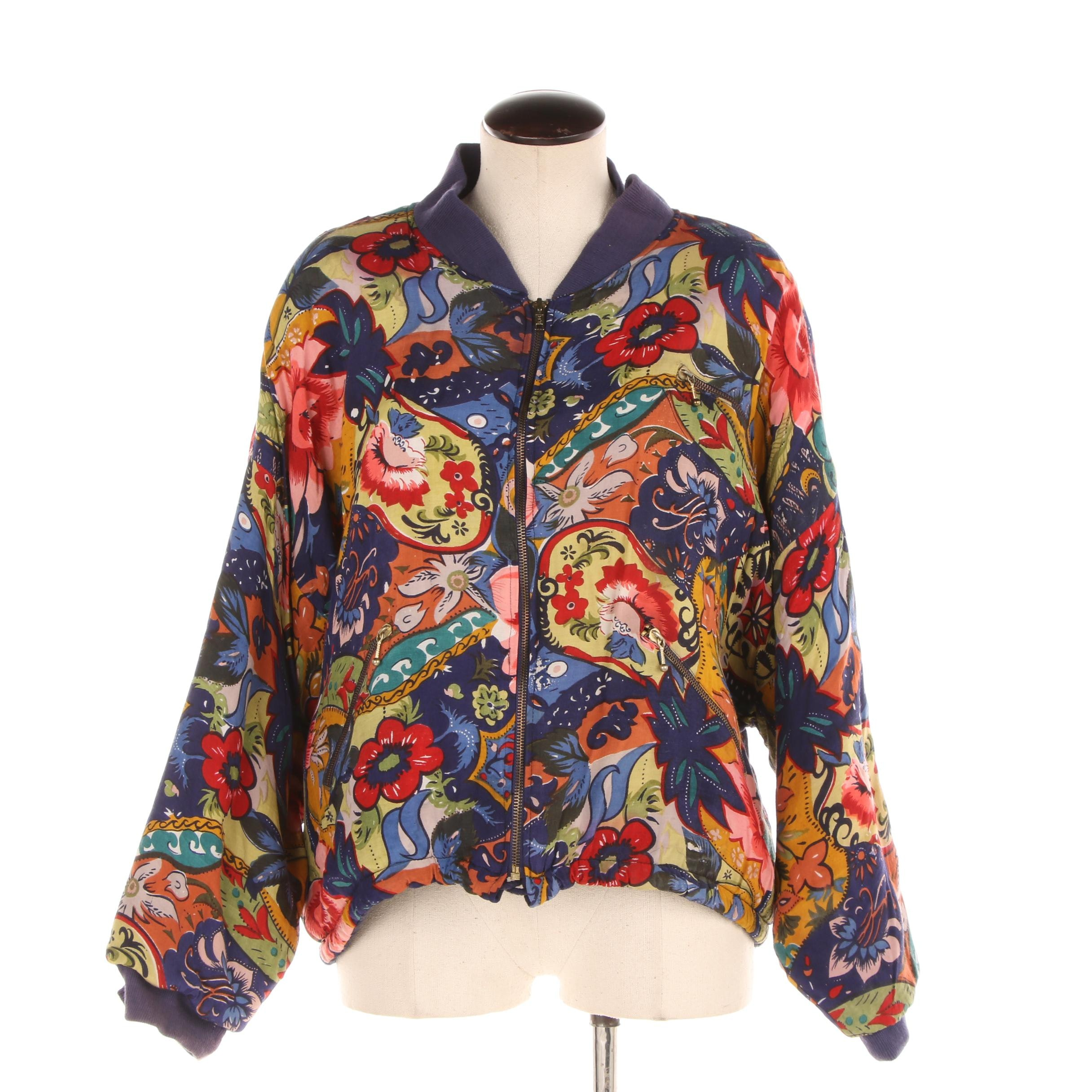 Women's Sugar Co. Ltd. Multicolored Floral Print Rayon Jacket