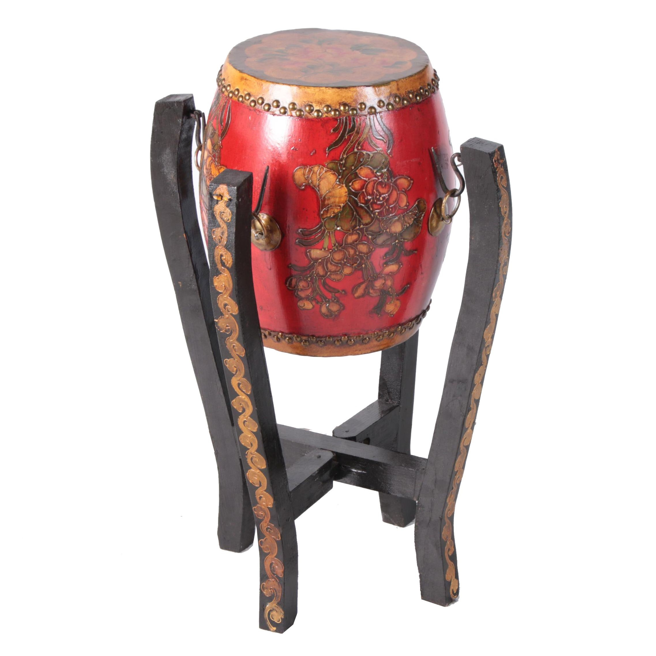 Chinese Tanggu Style Drum with Wooden Stand