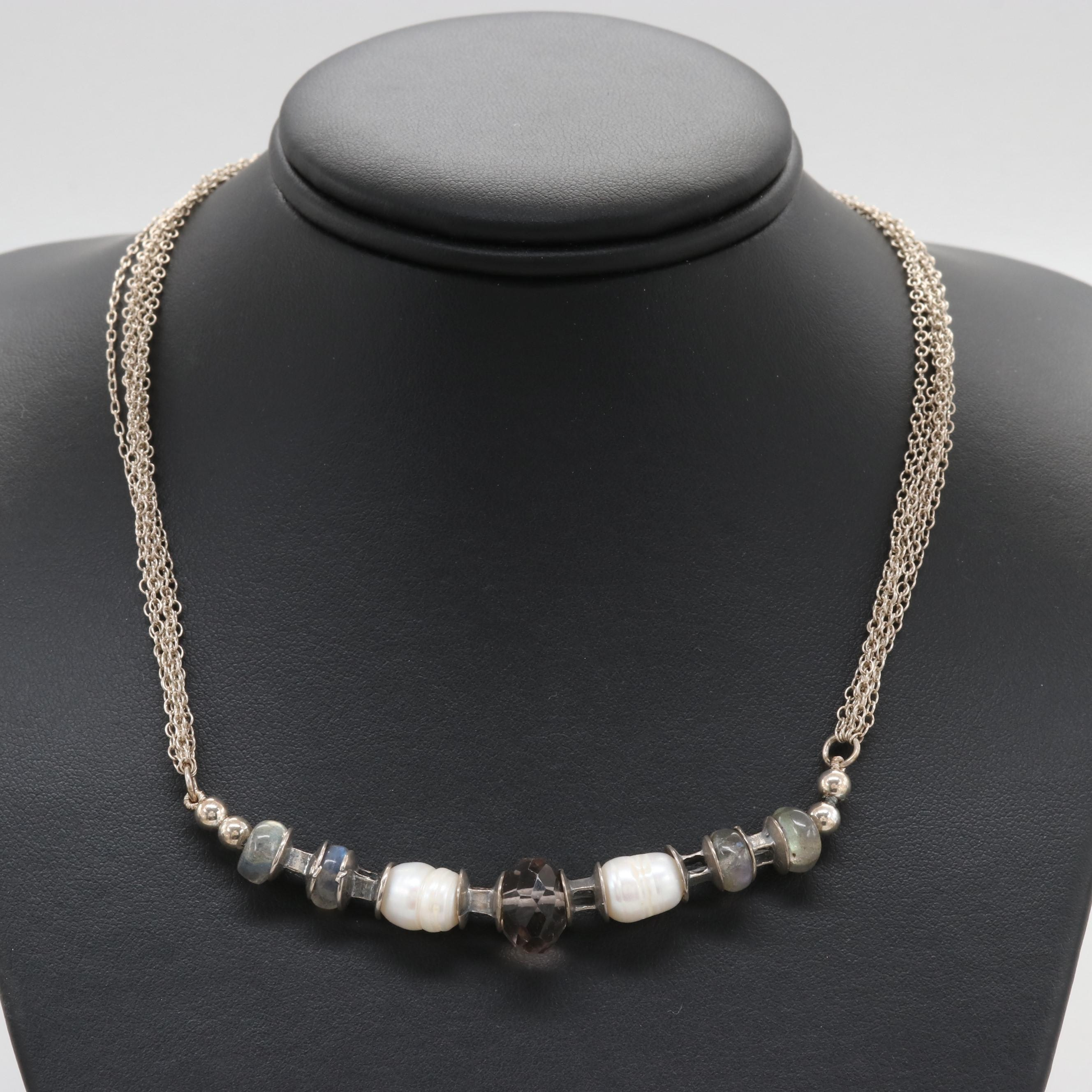 Sterling Silver Quartz, Cultured Pearl, and Labradorite Necklace