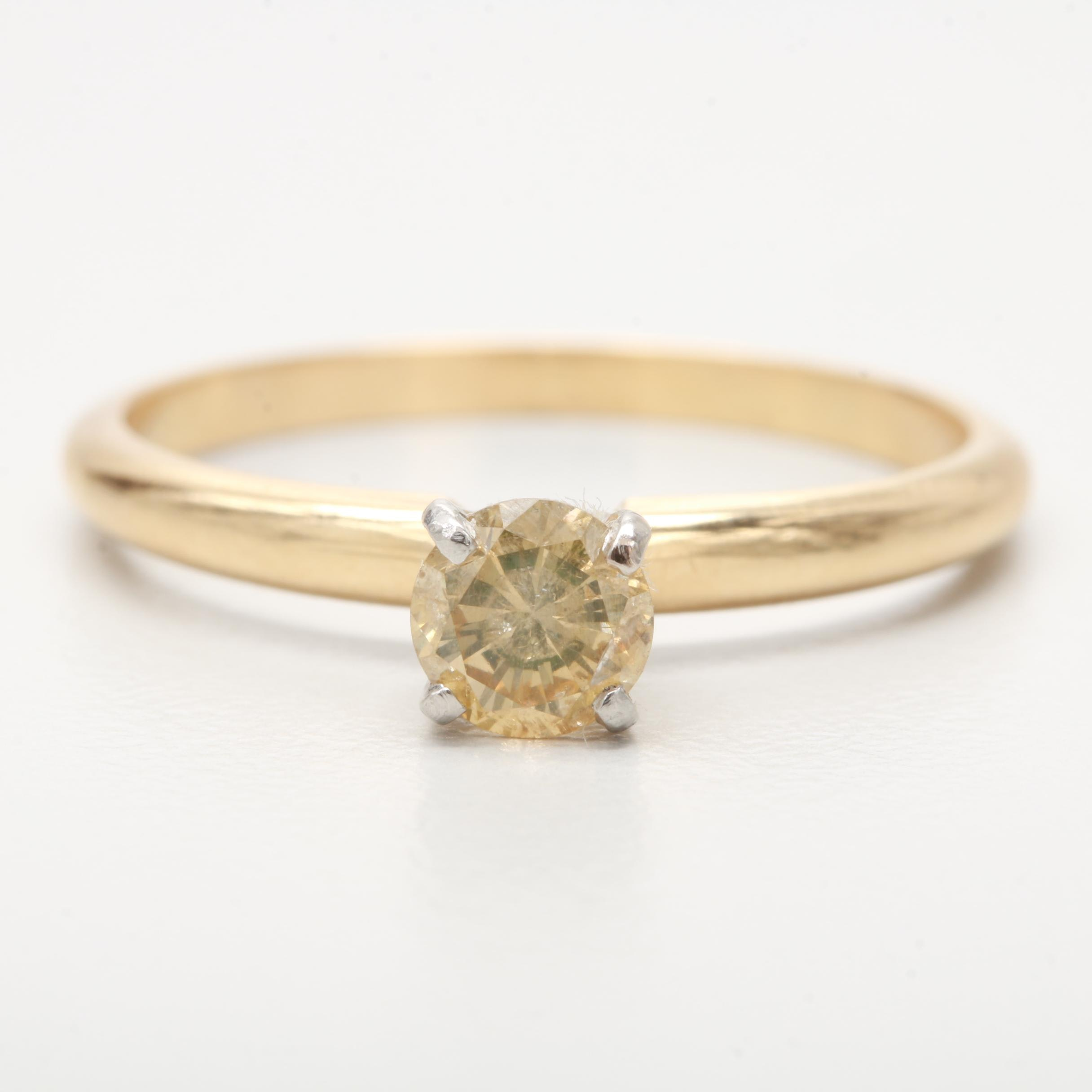 18K Yellow Gold and Platinum Yellow Diamond Ring