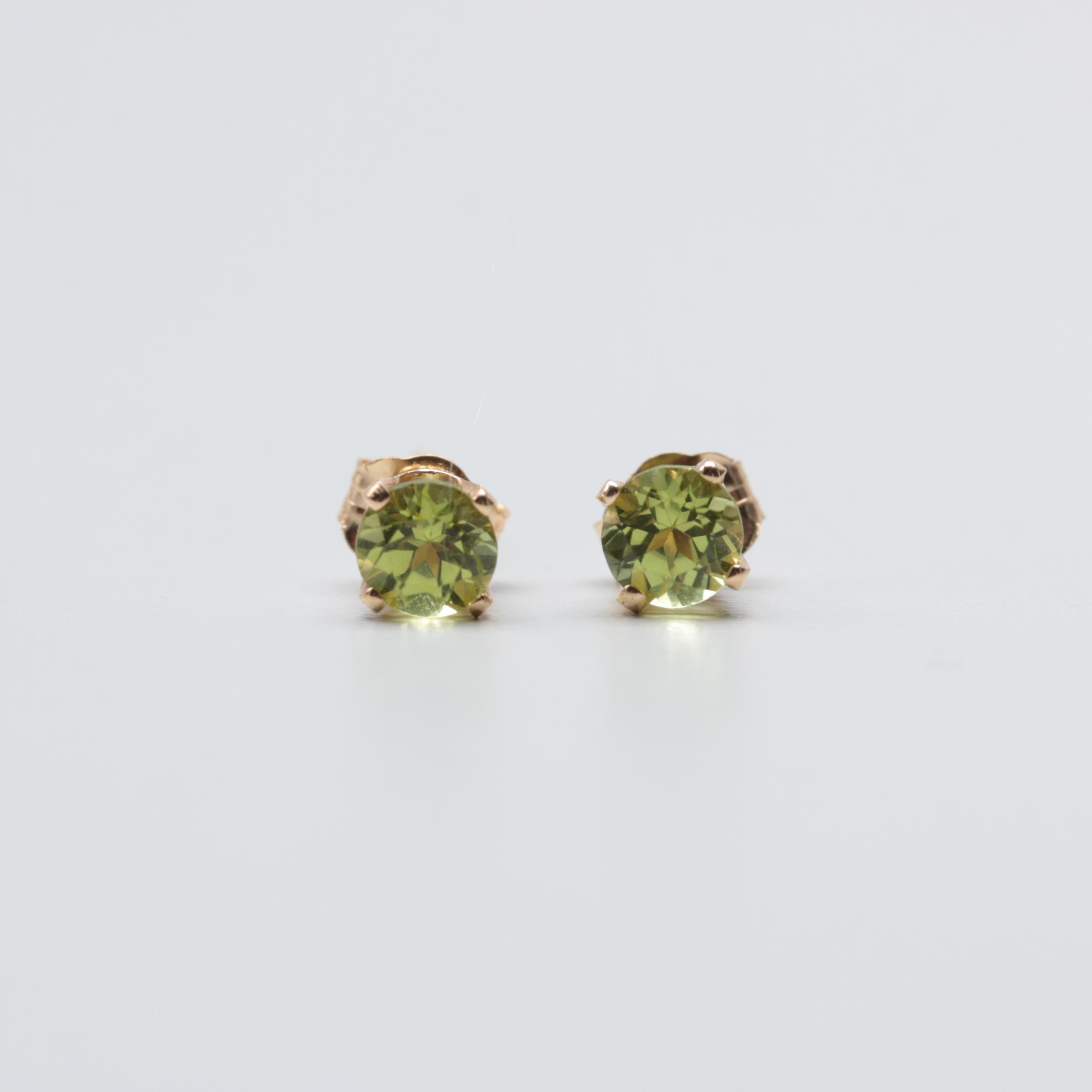 14K Yellow Gold Peridot Stud Earrings