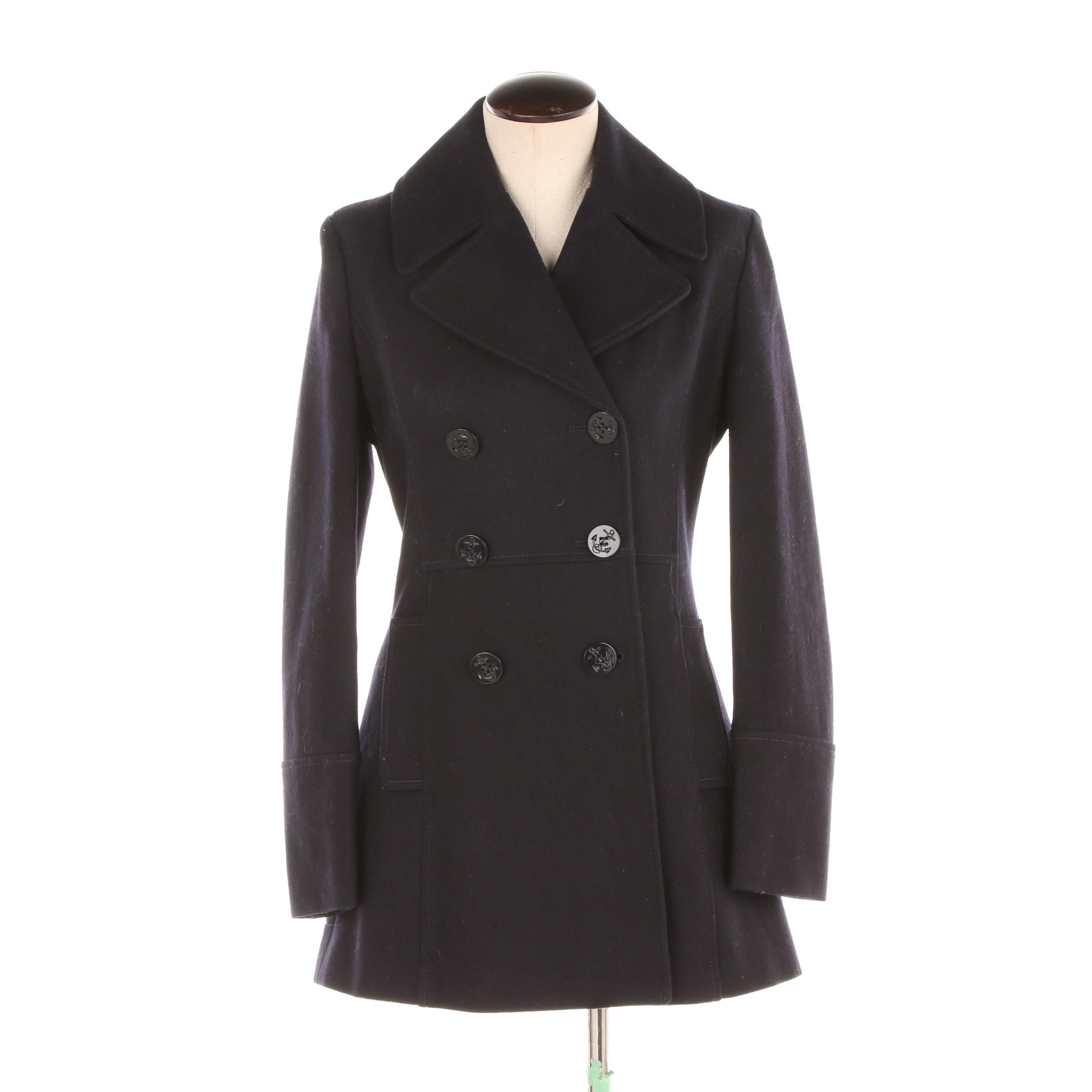 Women's Vineyard Vines Navy Wool Blend Double-Breasted Peacoat