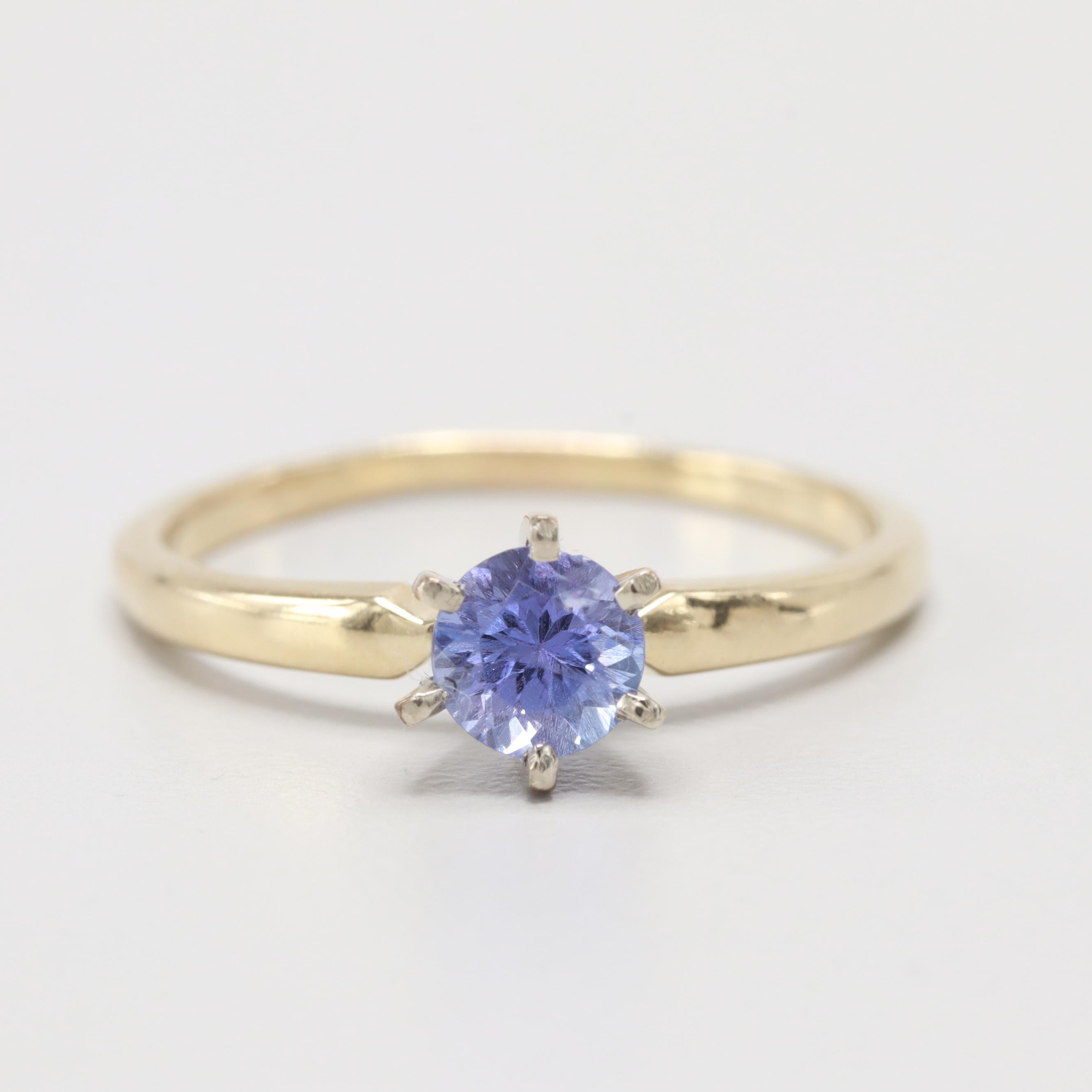 14K Yellow Gold Tanzanite Solitaire Ring