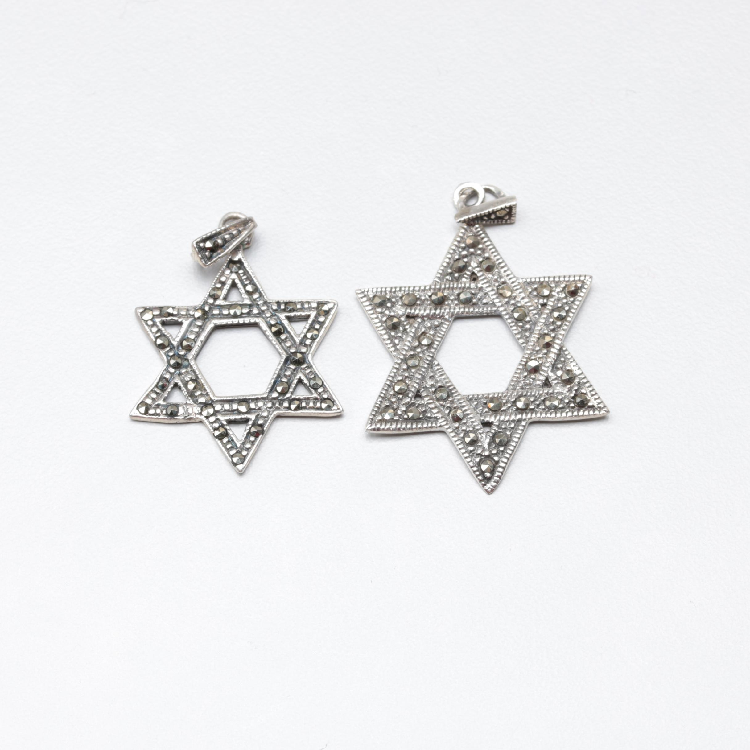 Sterling Silver and Marcasite Star of David Pendants
