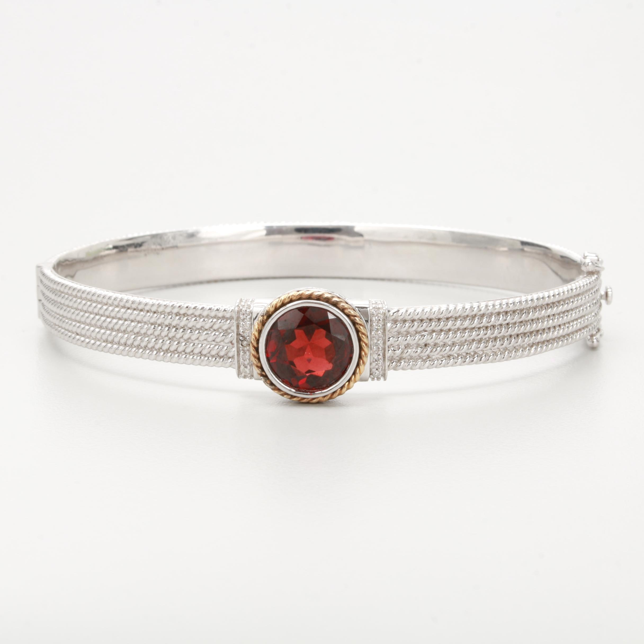 Sterling Silver Garnet and Diamond Bracelet with 14K Yellow Gold Accent