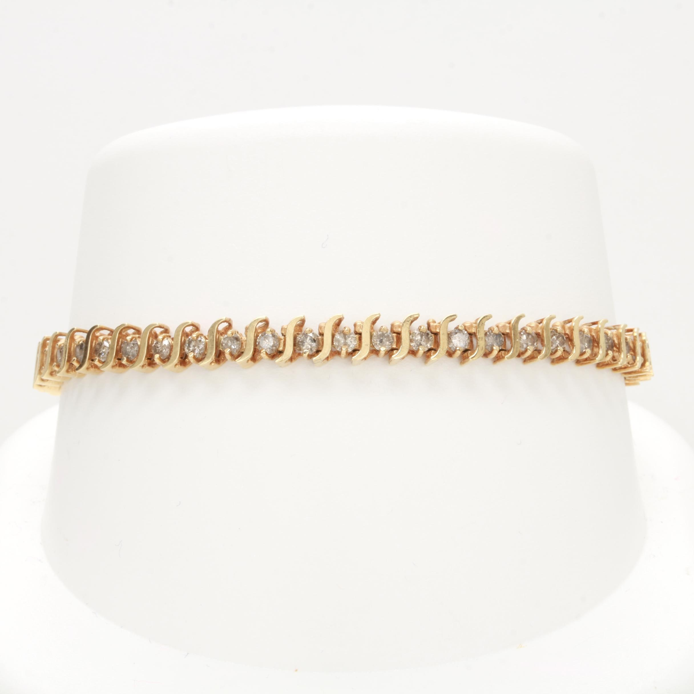 10K Yellow Gold 2.50 CTW Diamond Bracelet with 14K Safety Chain