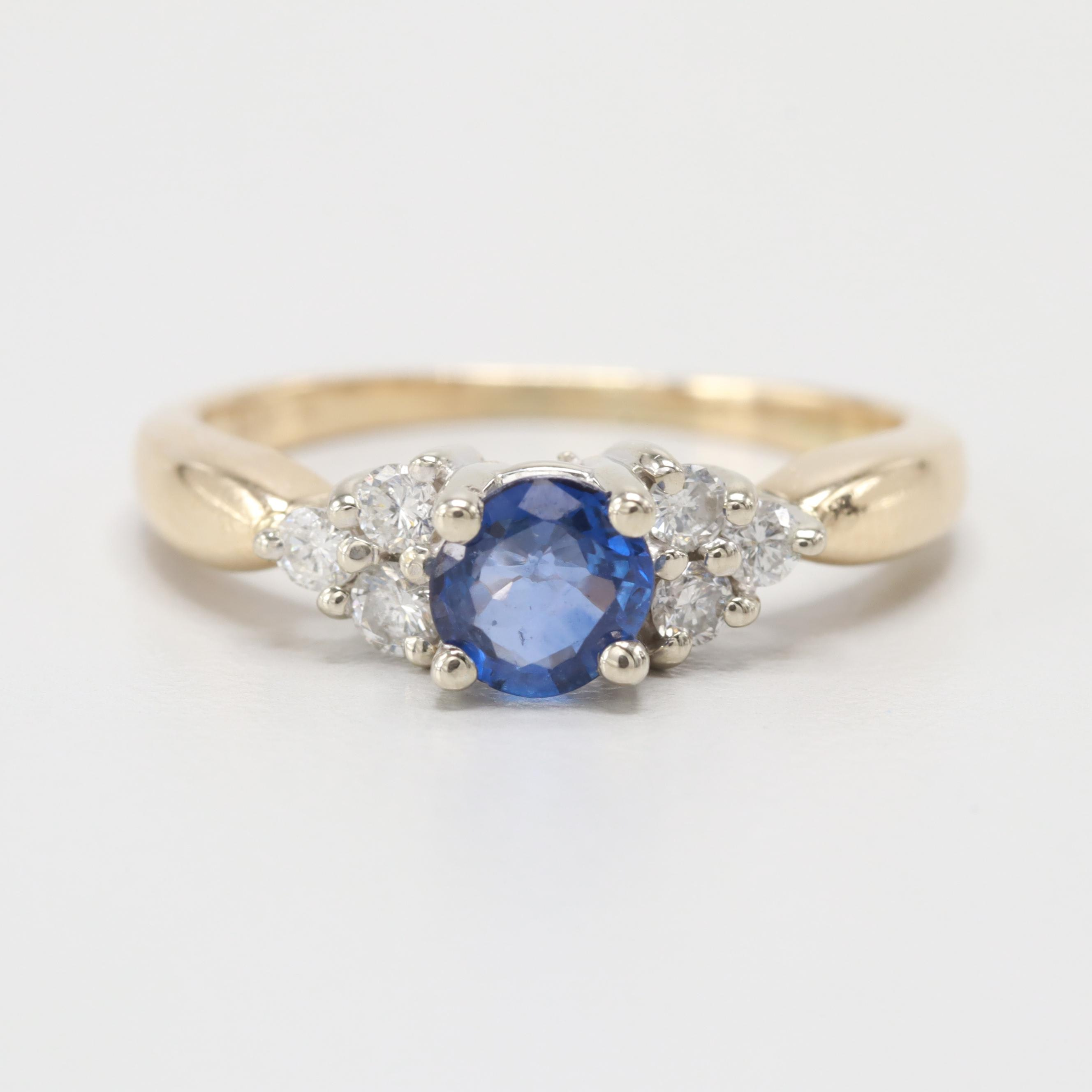 14K Yellow and White Gold Sapphire and Diamond Ring