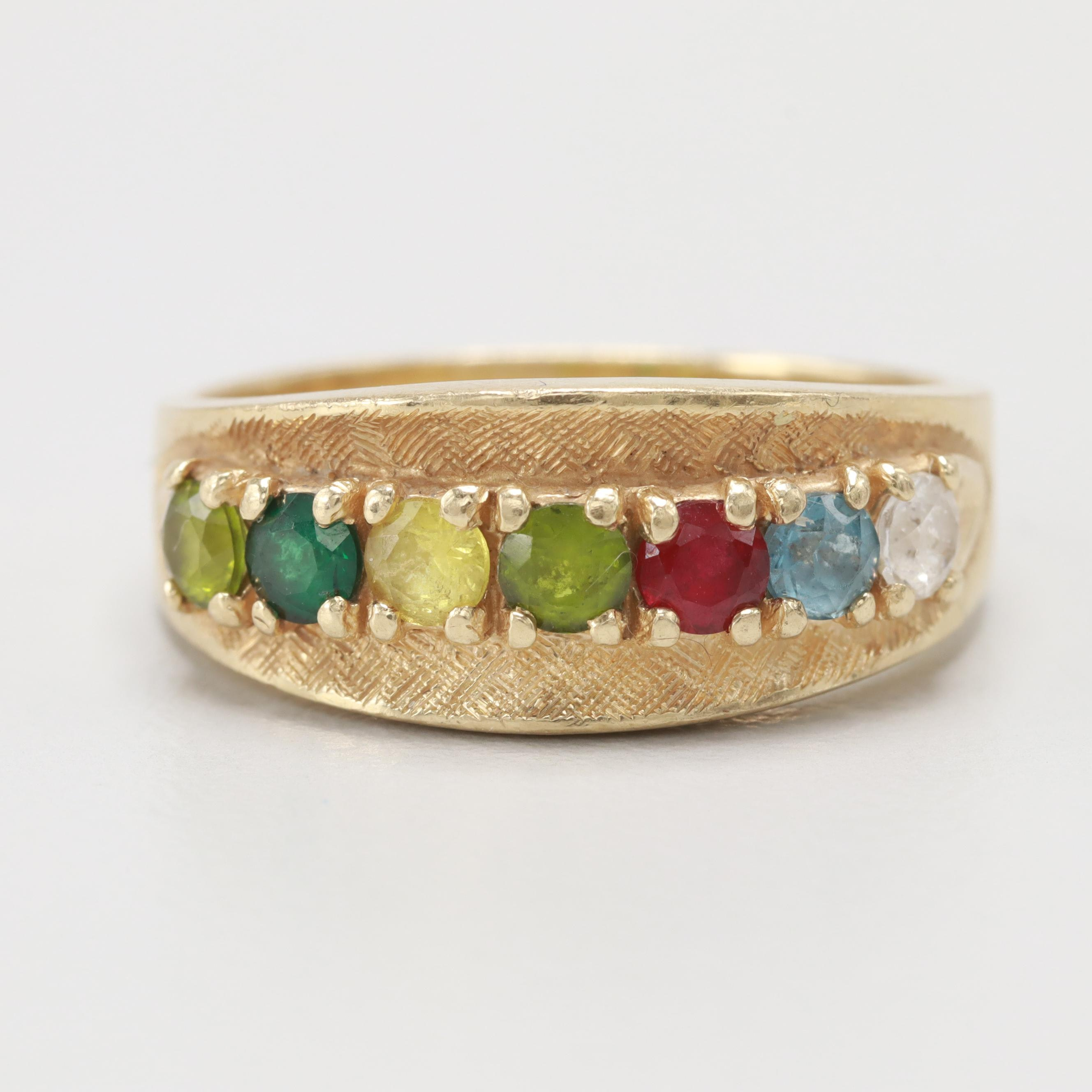 14K Yellow Gold Peridot, Synthetic Spinel and Synthetic Ruby Ring