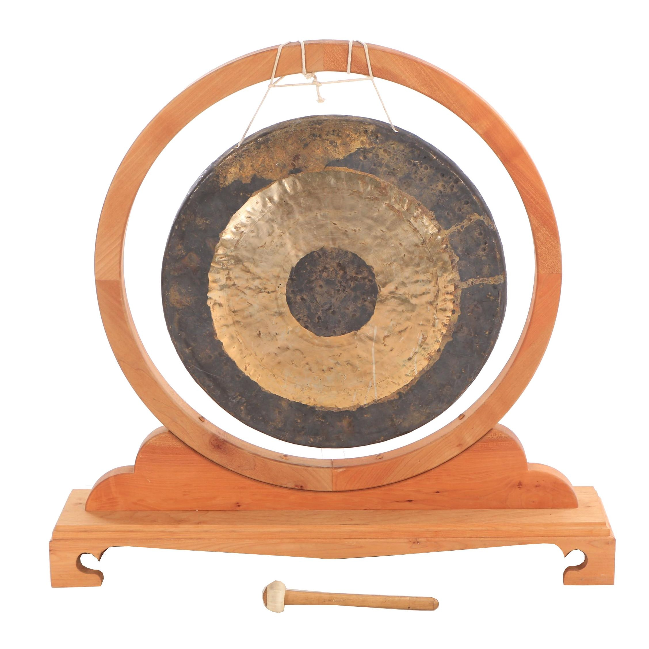 Chinese Brass Gong in Stand with Mallet