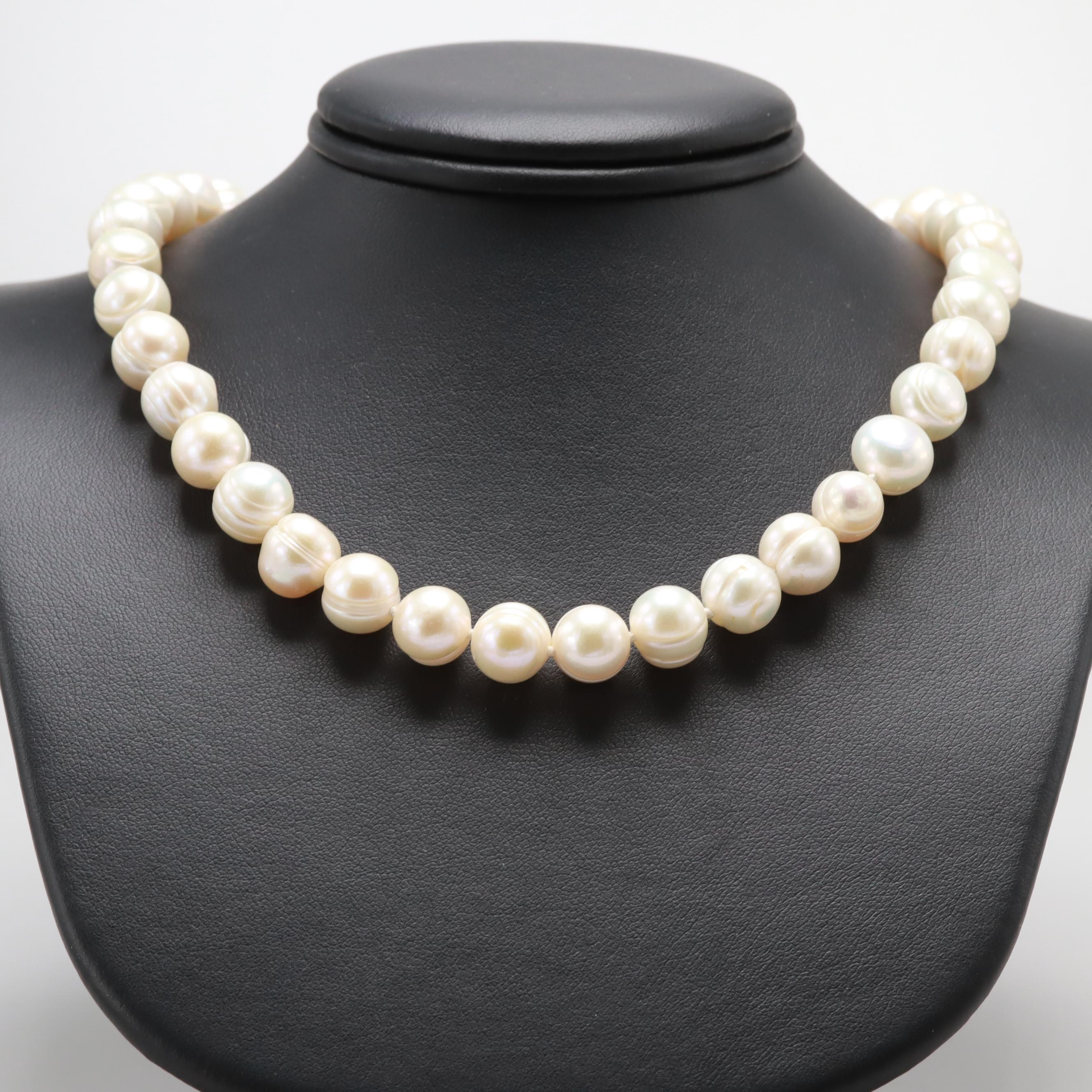 14K and 10K Yellow Gold Cultured Pearl and Diamond Necklace