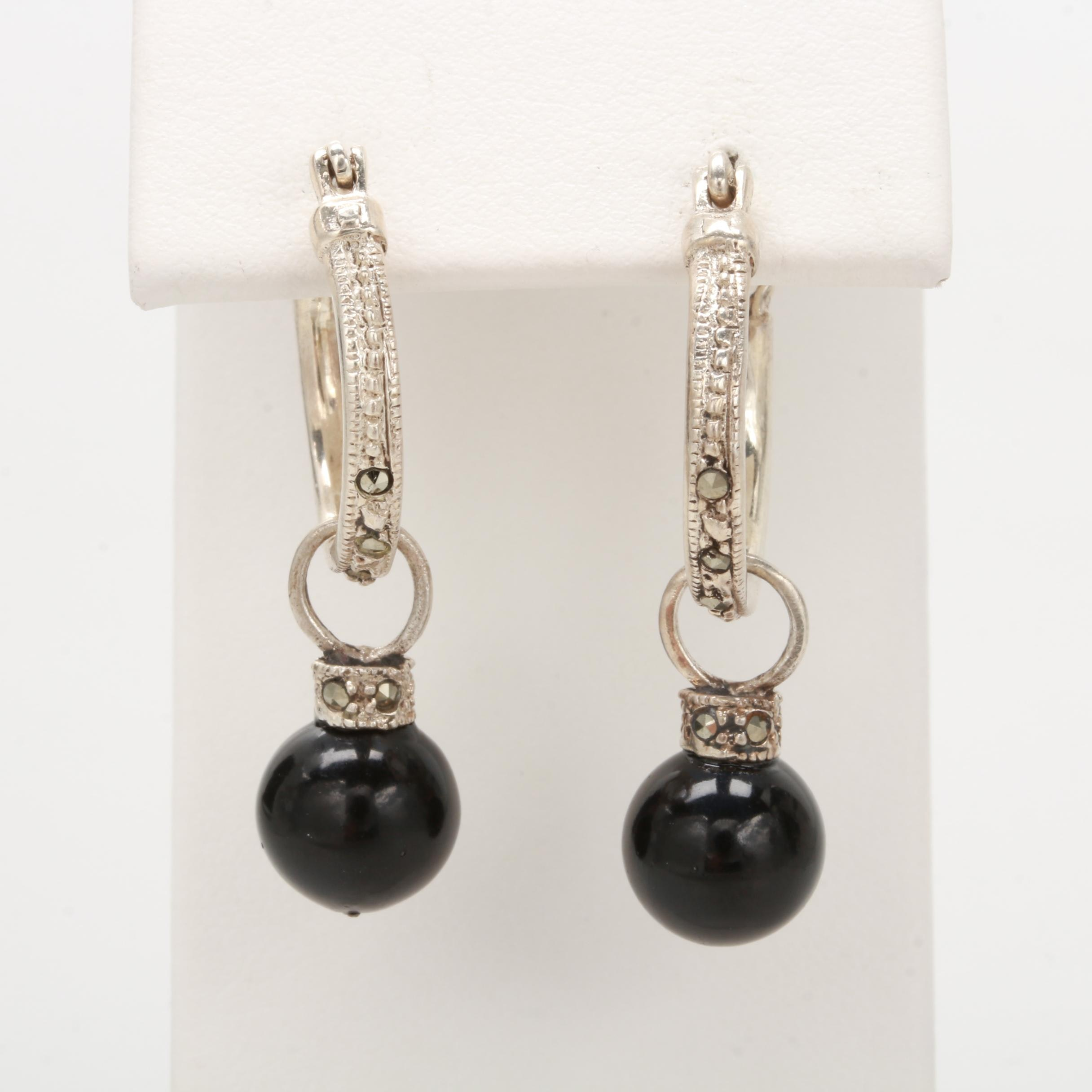 Sterling Silver Resin and Marcasite Earrings