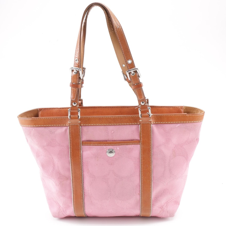 Coach Pink Signature Canvas Gallery Tote with Leather Trim   EBTH a16ece771da60
