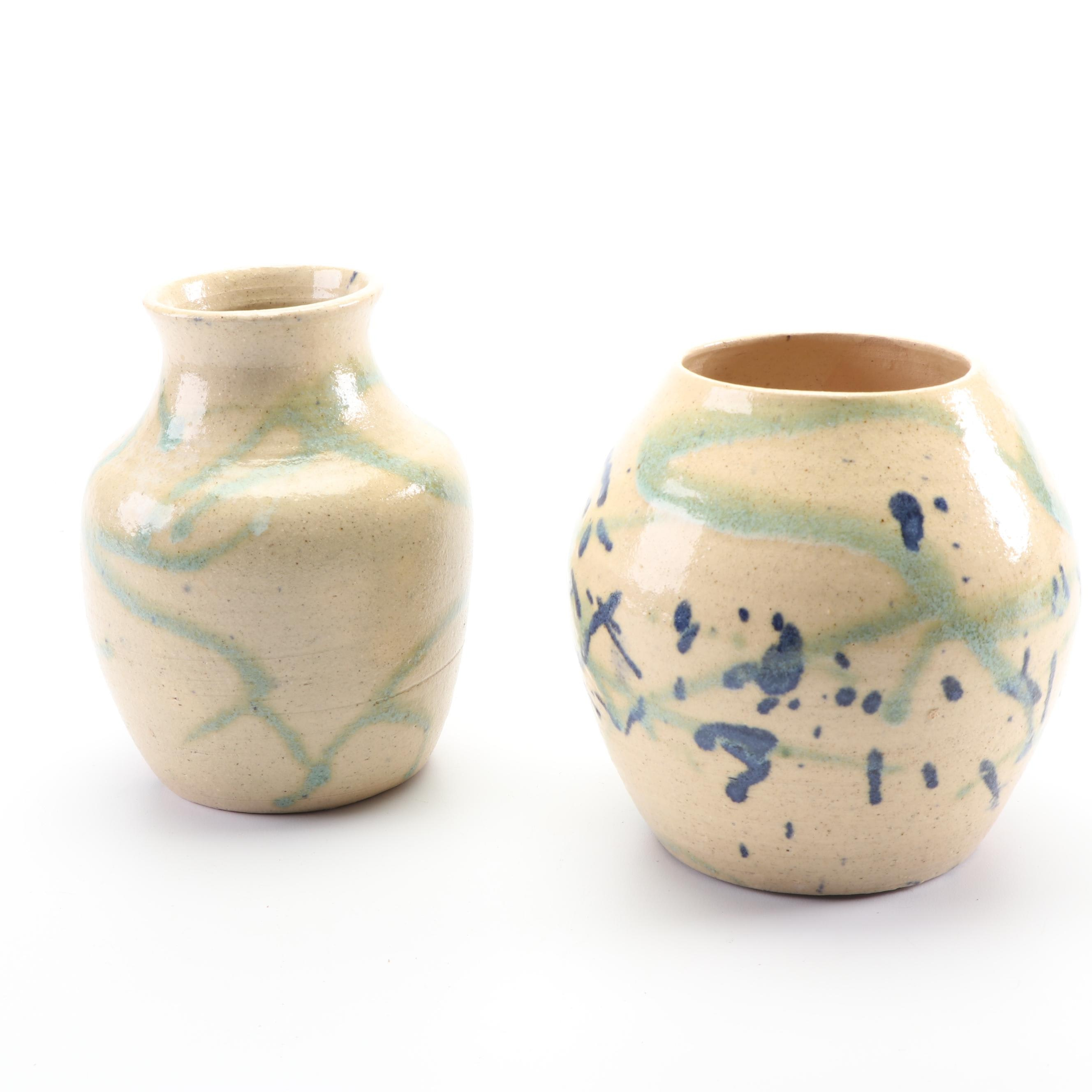 Jen Lowy Signed Hand-Thrown Stoneware Vases