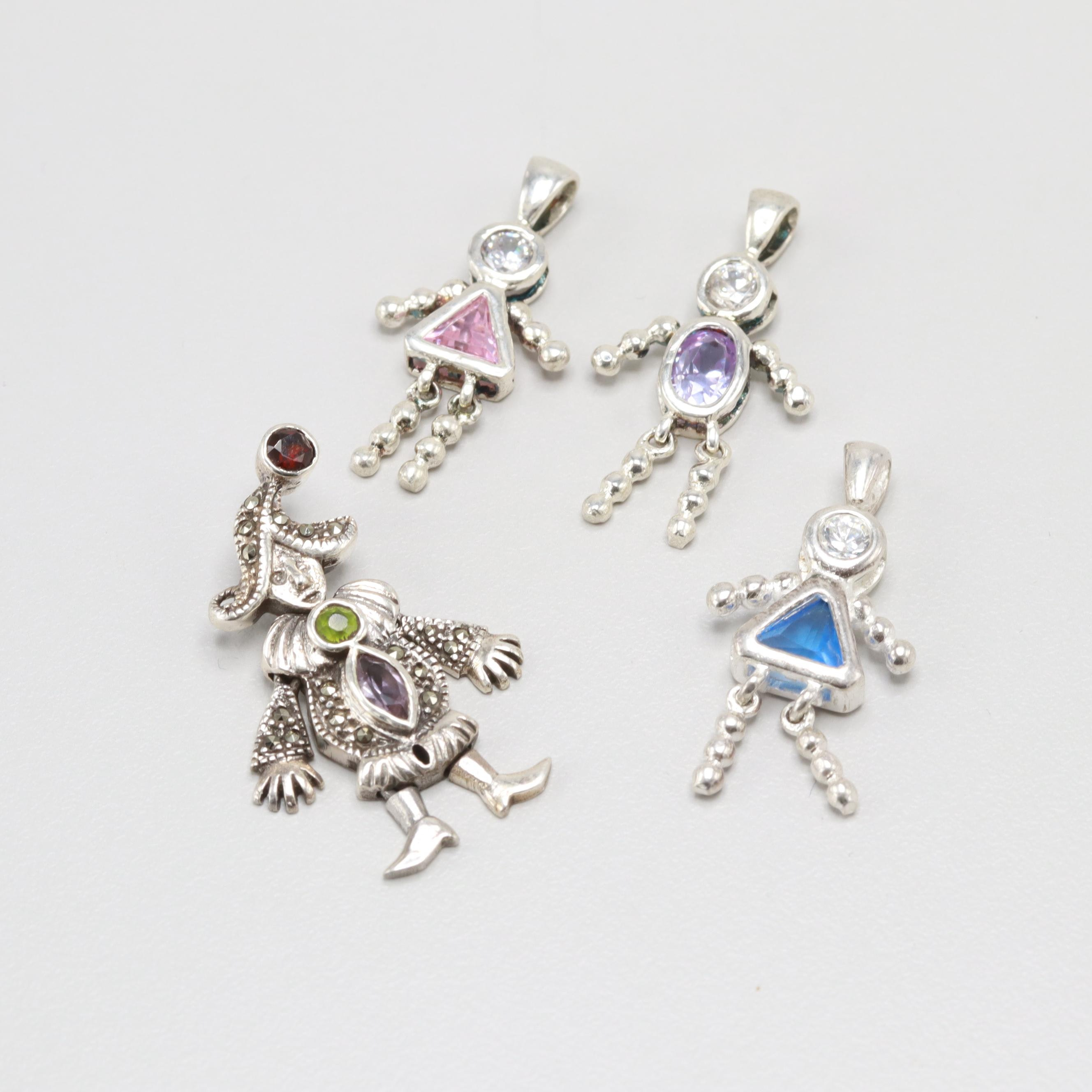 Sterling Silver Garnet, Amethyst, and Marcasite People Pendants