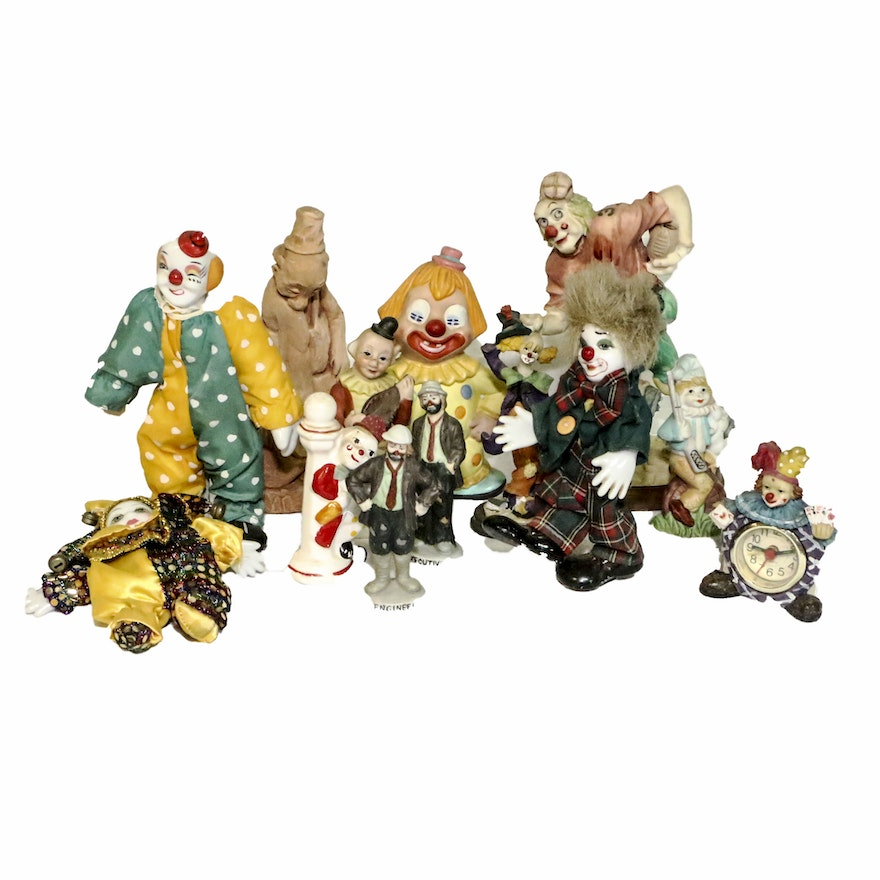 Porcelain Clown Dolls and Figurines with Table Clock