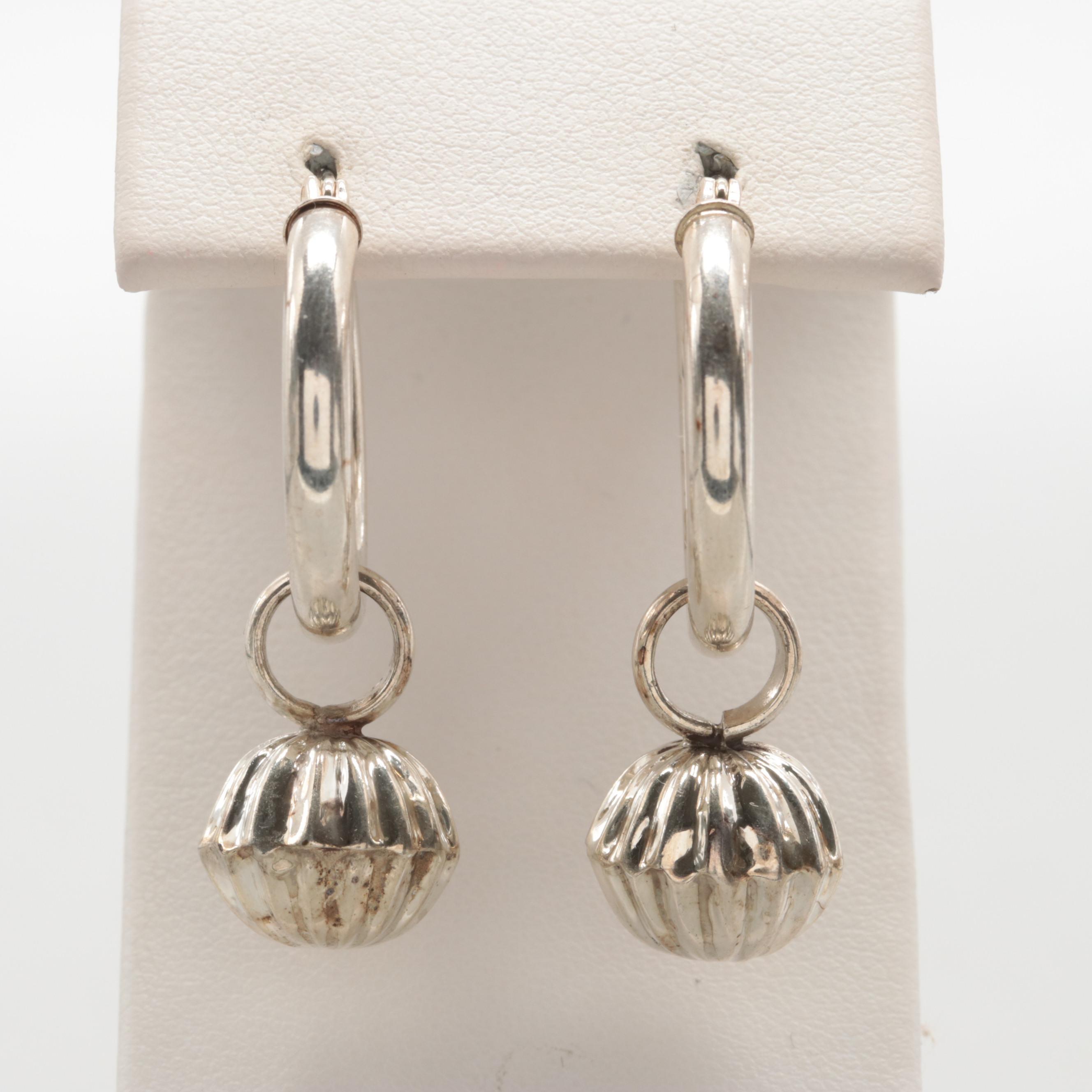 Sterling Silver Hoop Earrings With Dangle