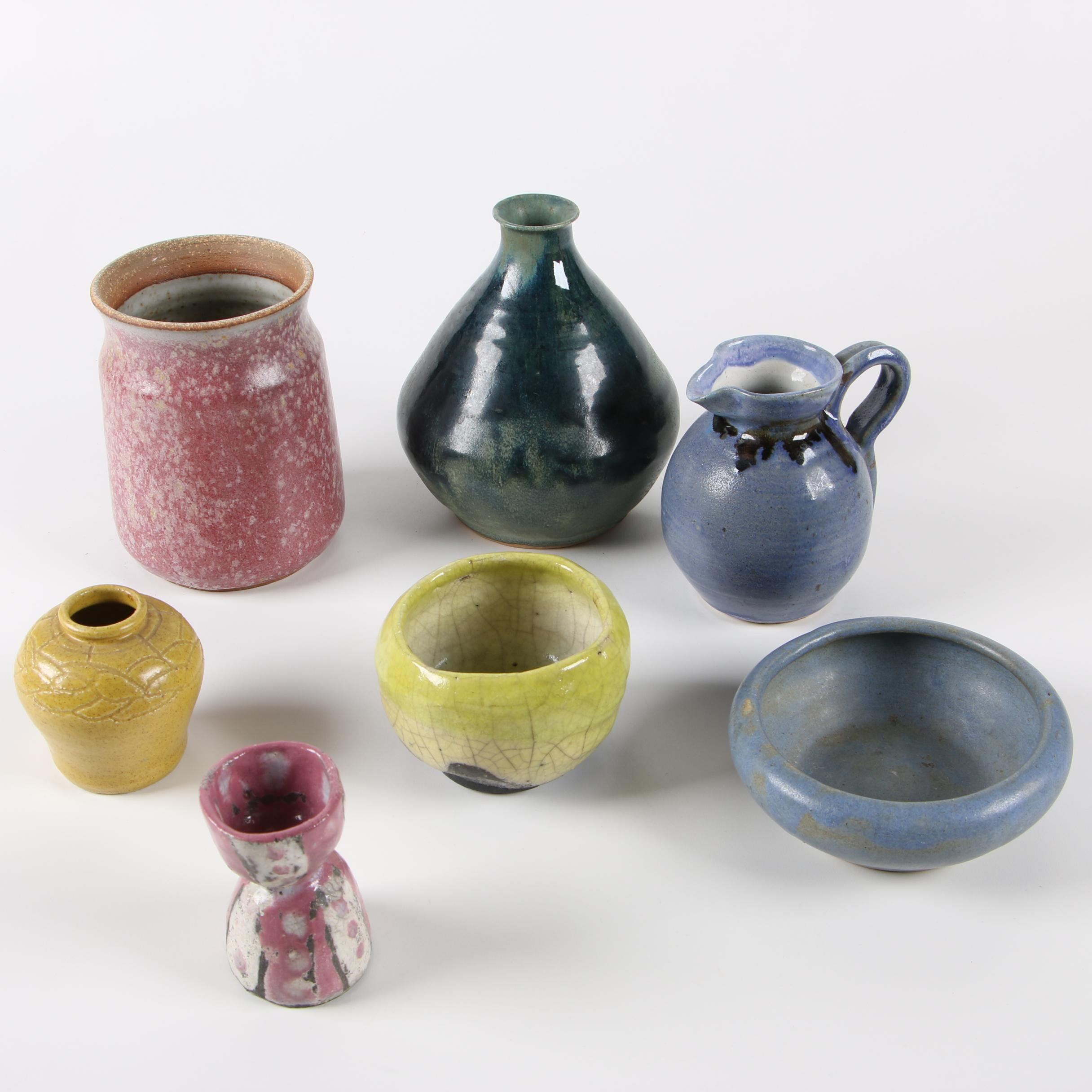 Wheel Thrown Stoneware and Raku Fired Pottery Including Pigeon Forge