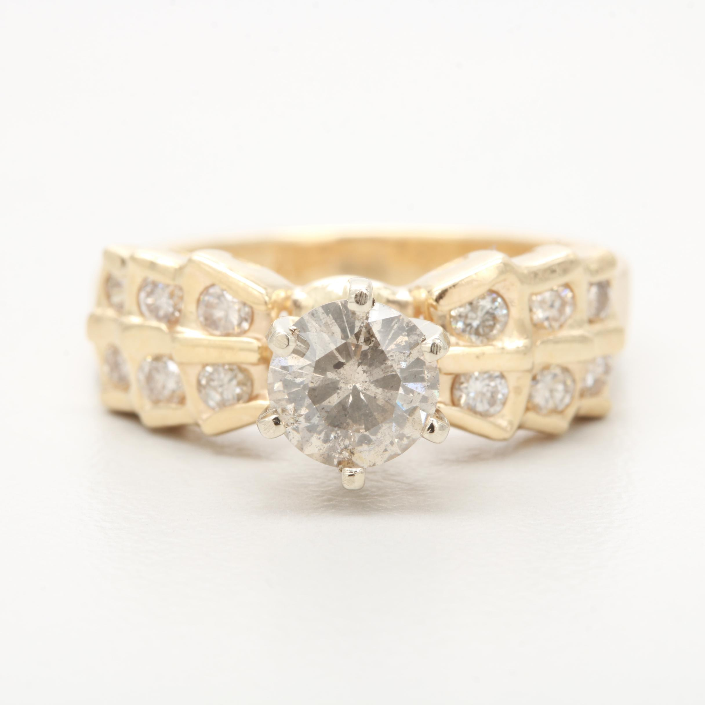 14K Yellow Gold 0.99 CTW Diamond Ring