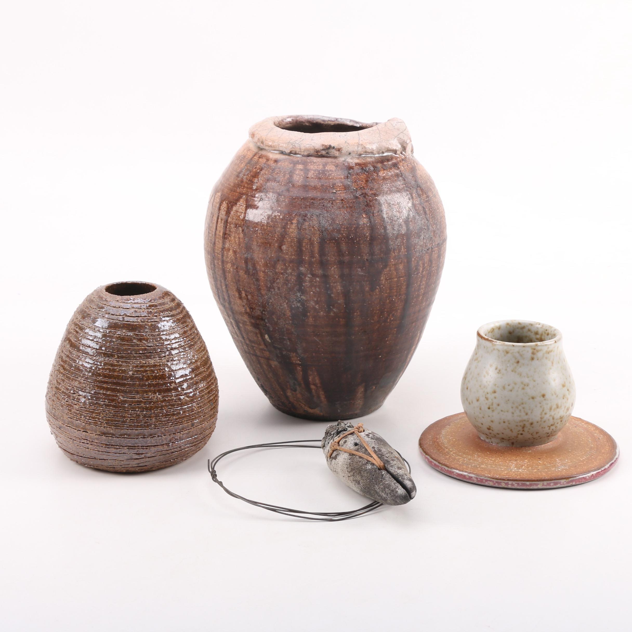 Wheel Thrown Stoneware Vases and Bird Figurine