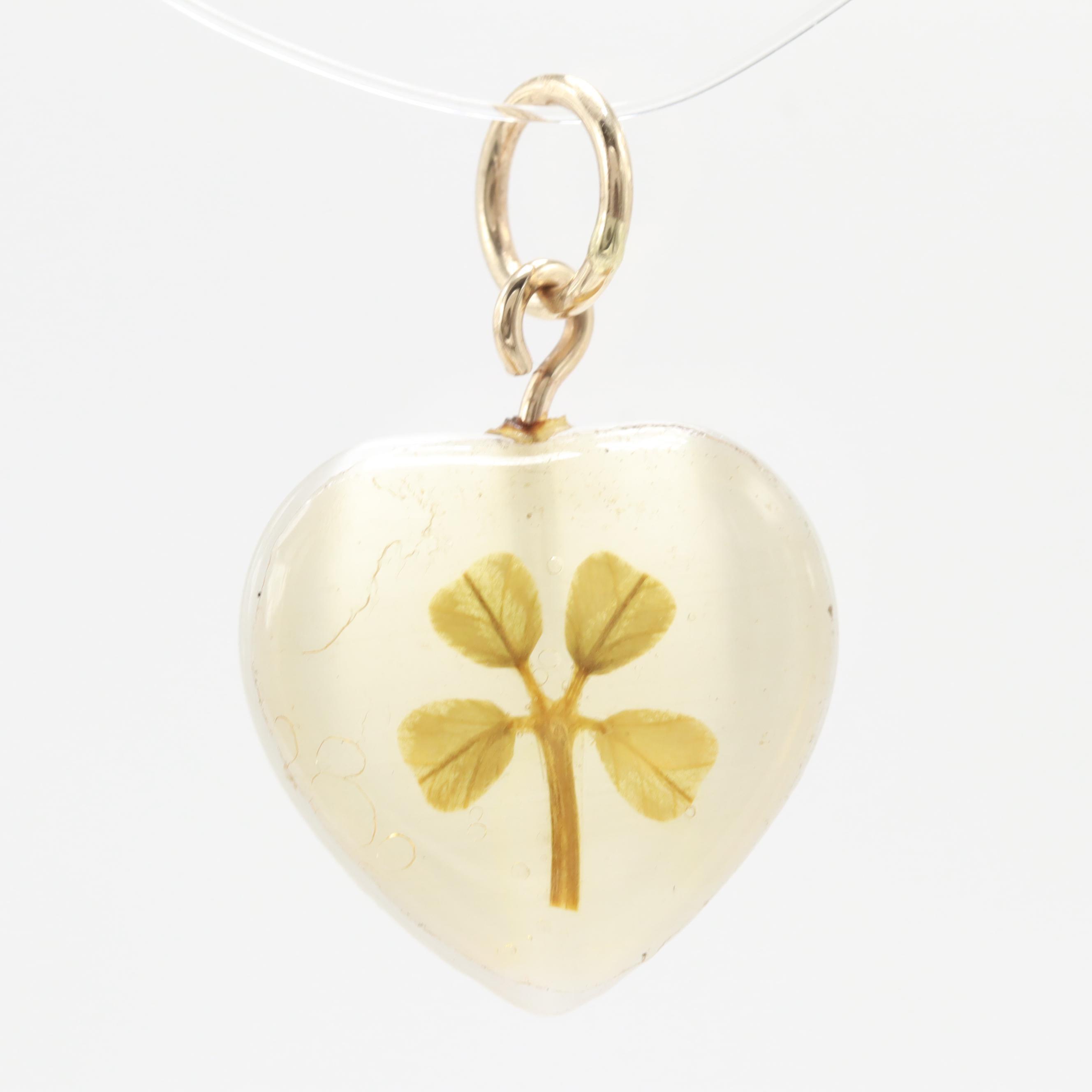 14K Yellow Gold Resin Heart Four Leaf Clover Pendant