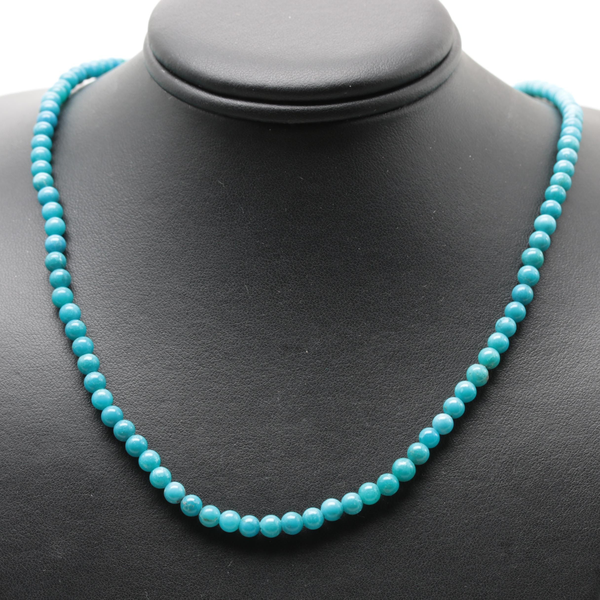 14K and 10K Yellow Gold Stabilized Turquoise Necklace