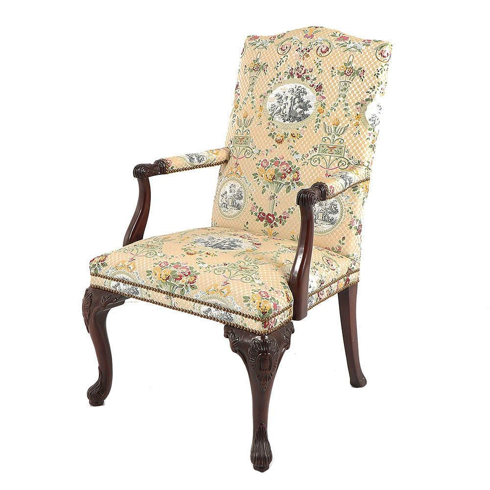 Georgian Style Upholstered Mahogany Finish Library Chair, Late 20th Century