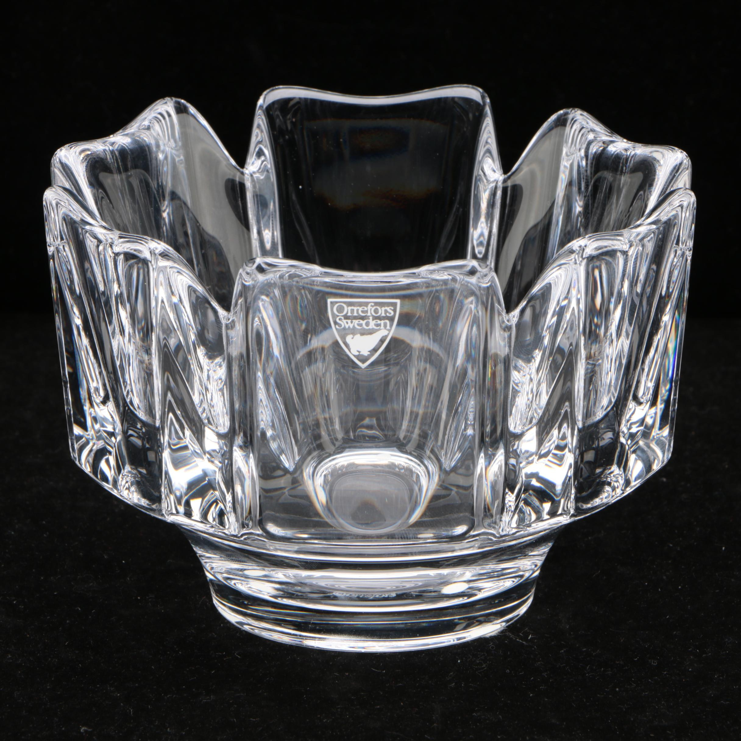 "Orrefors ""Corona"" Crystal Bowl"