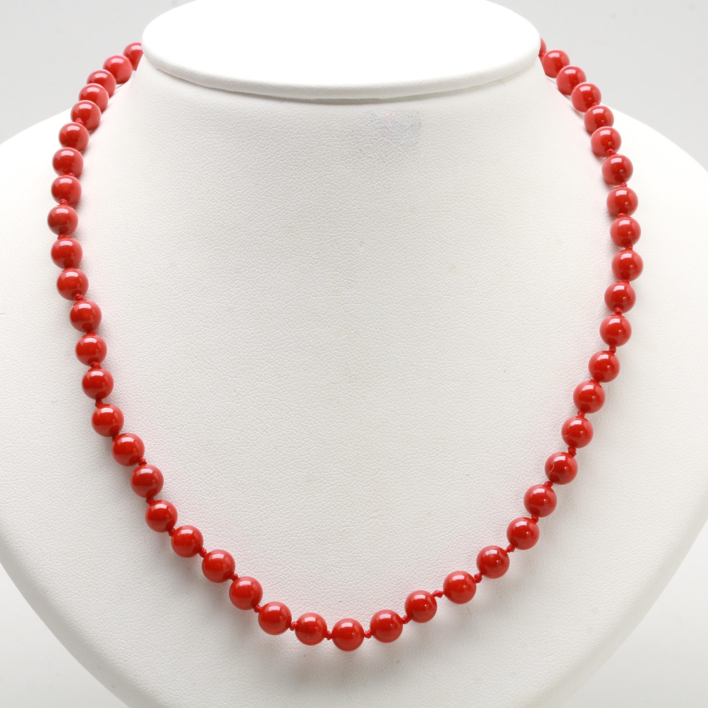 14K and 10K Yellow Gold Coral Necklace