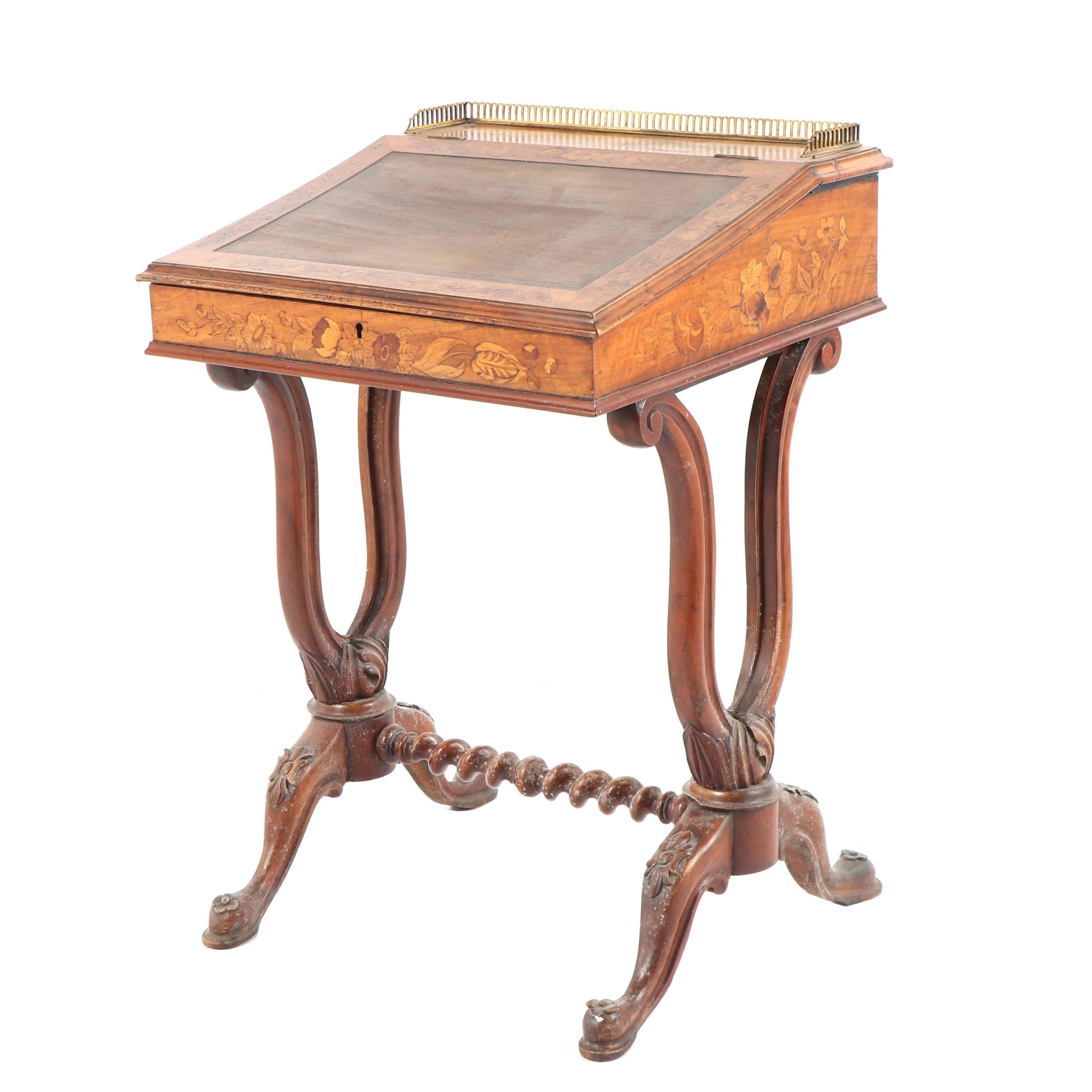 Victorian Walnut and Marquetry Davenport, Mid 19th century