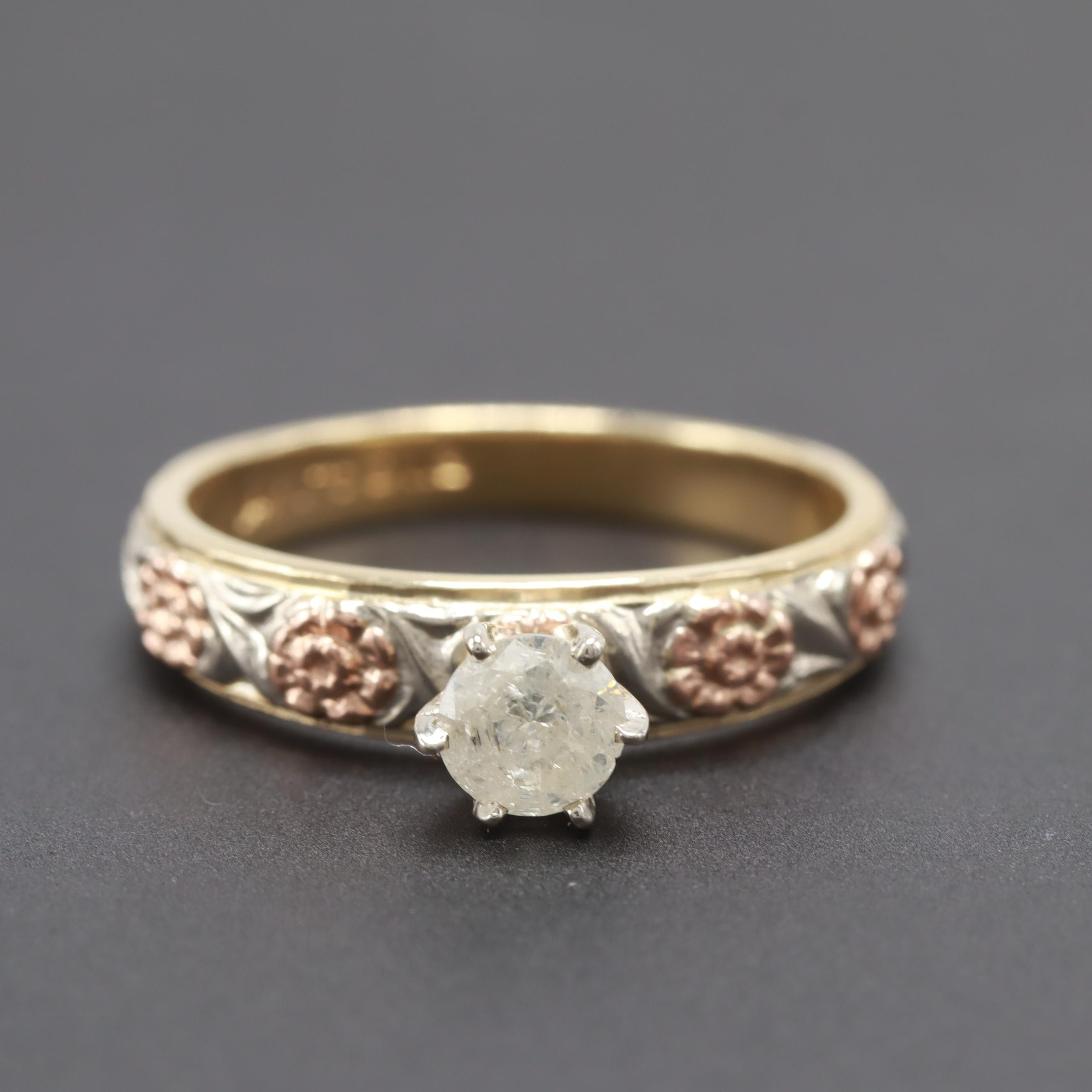 14K Yellow Gold Diamond Ring with Rose and White Gold Accents