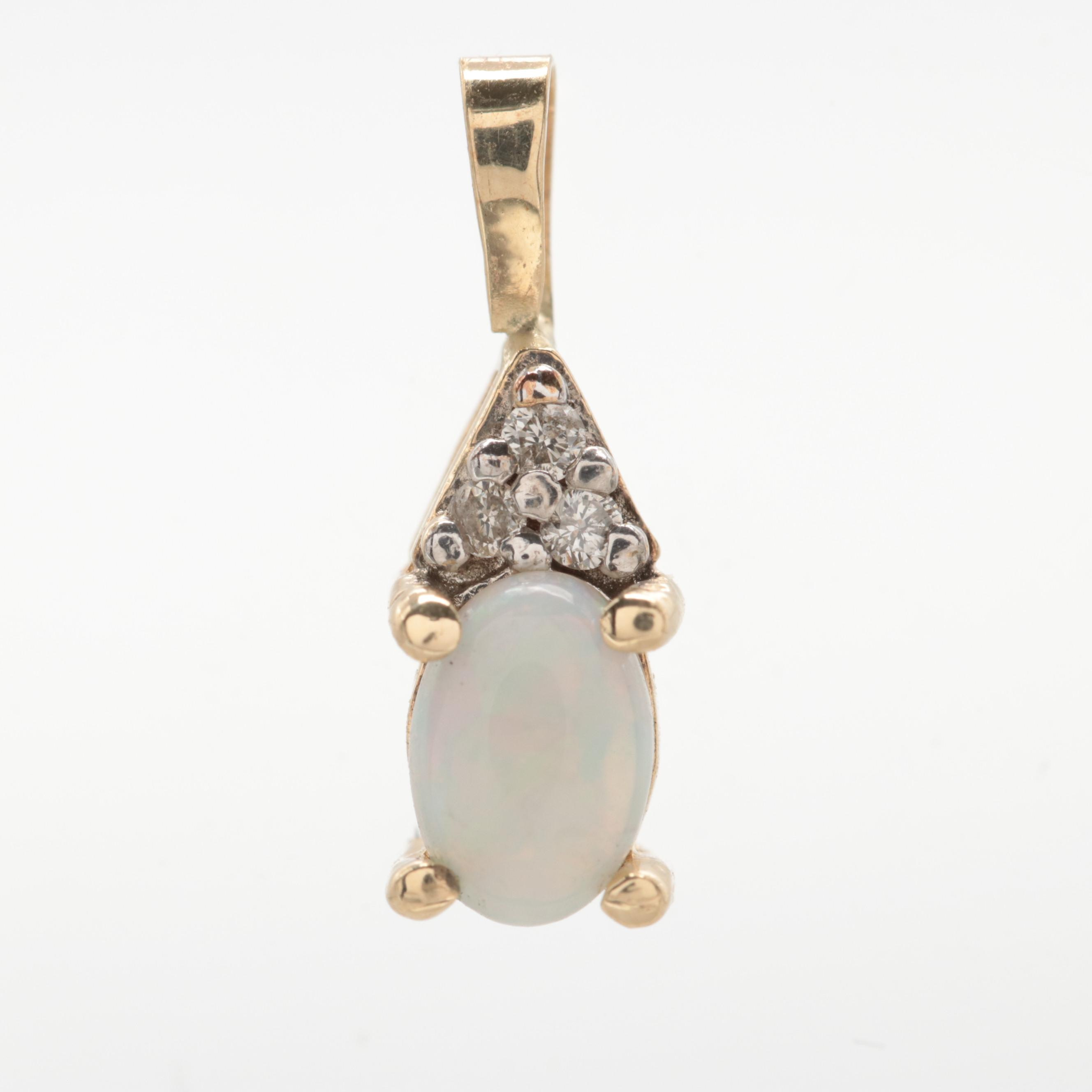 10K and 14K Yellow Gold Opal and Diamond Pendant