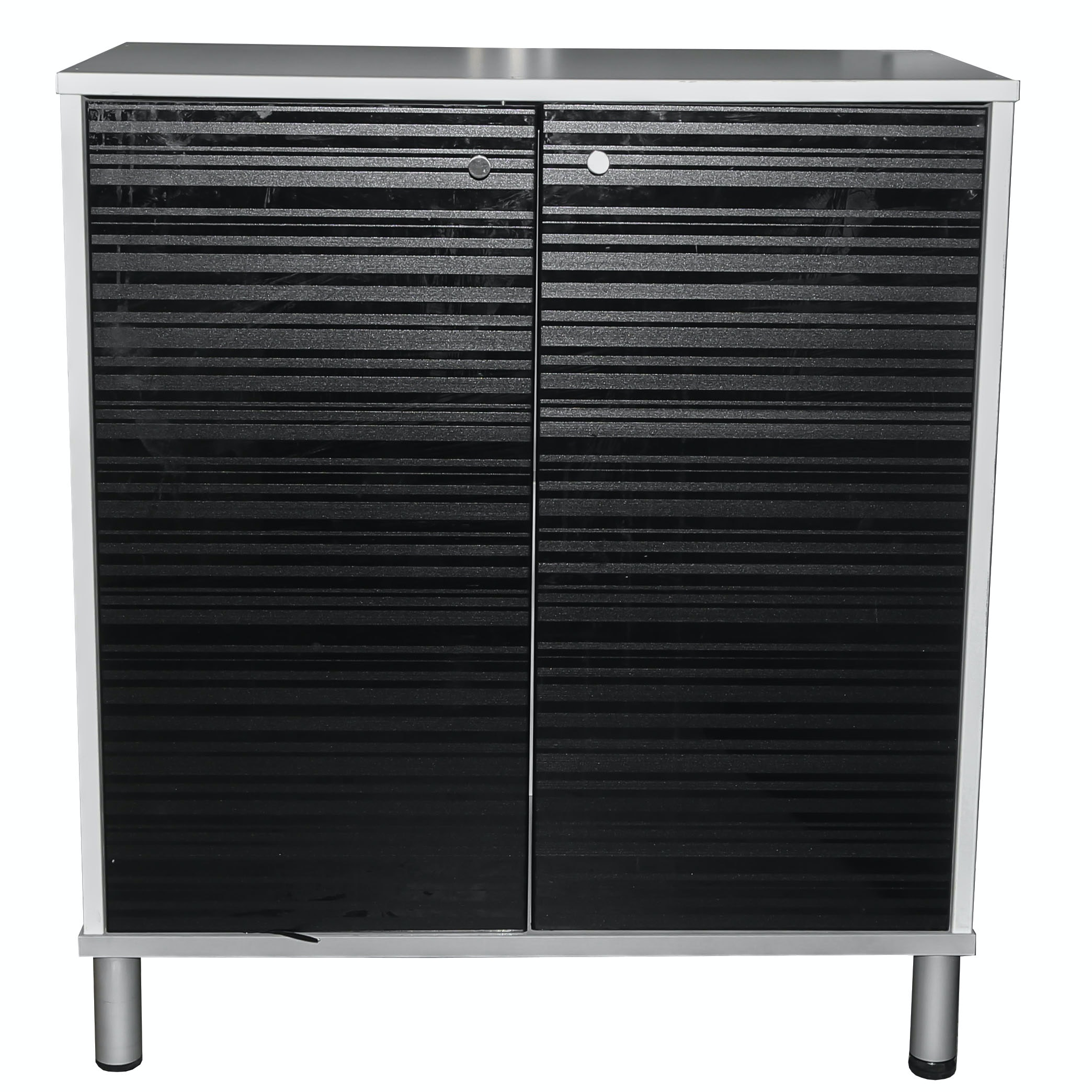 IKEA Effektiv White and Black Laminate Storage Cabinet