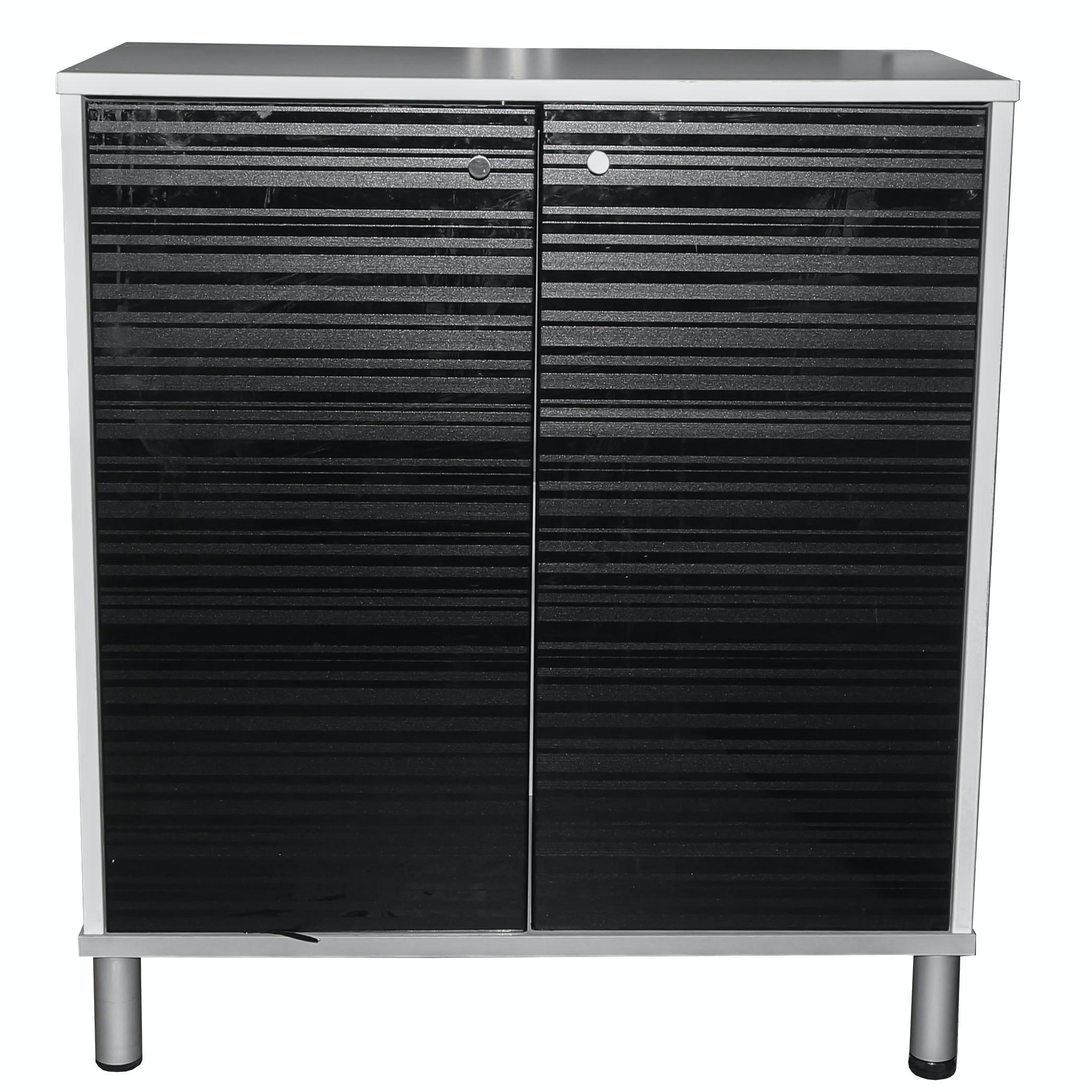 IKEA Effektiv White and Black Laminate Storage Cabinet