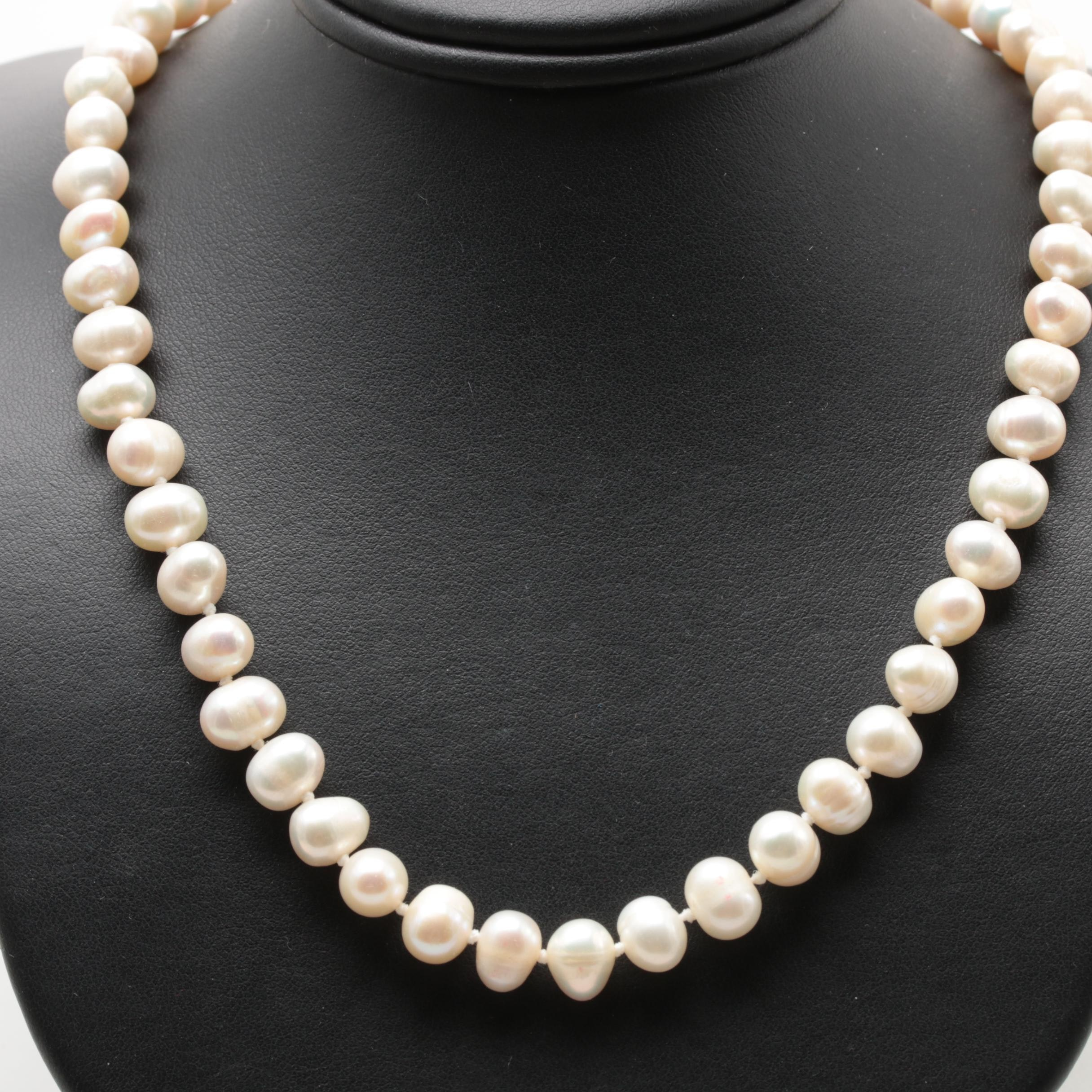 10K and 14K Yellow Gold Cultured Pearl Necklace