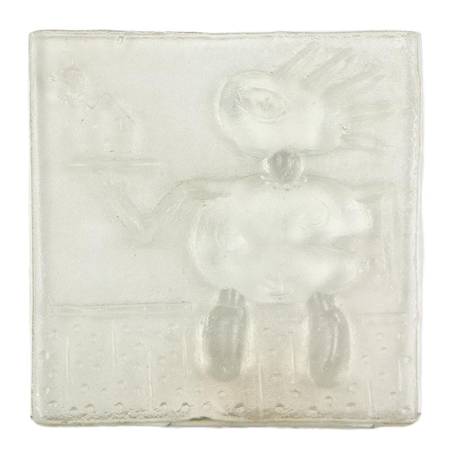 Merle Rosen Cast Relief Glass Sculpture