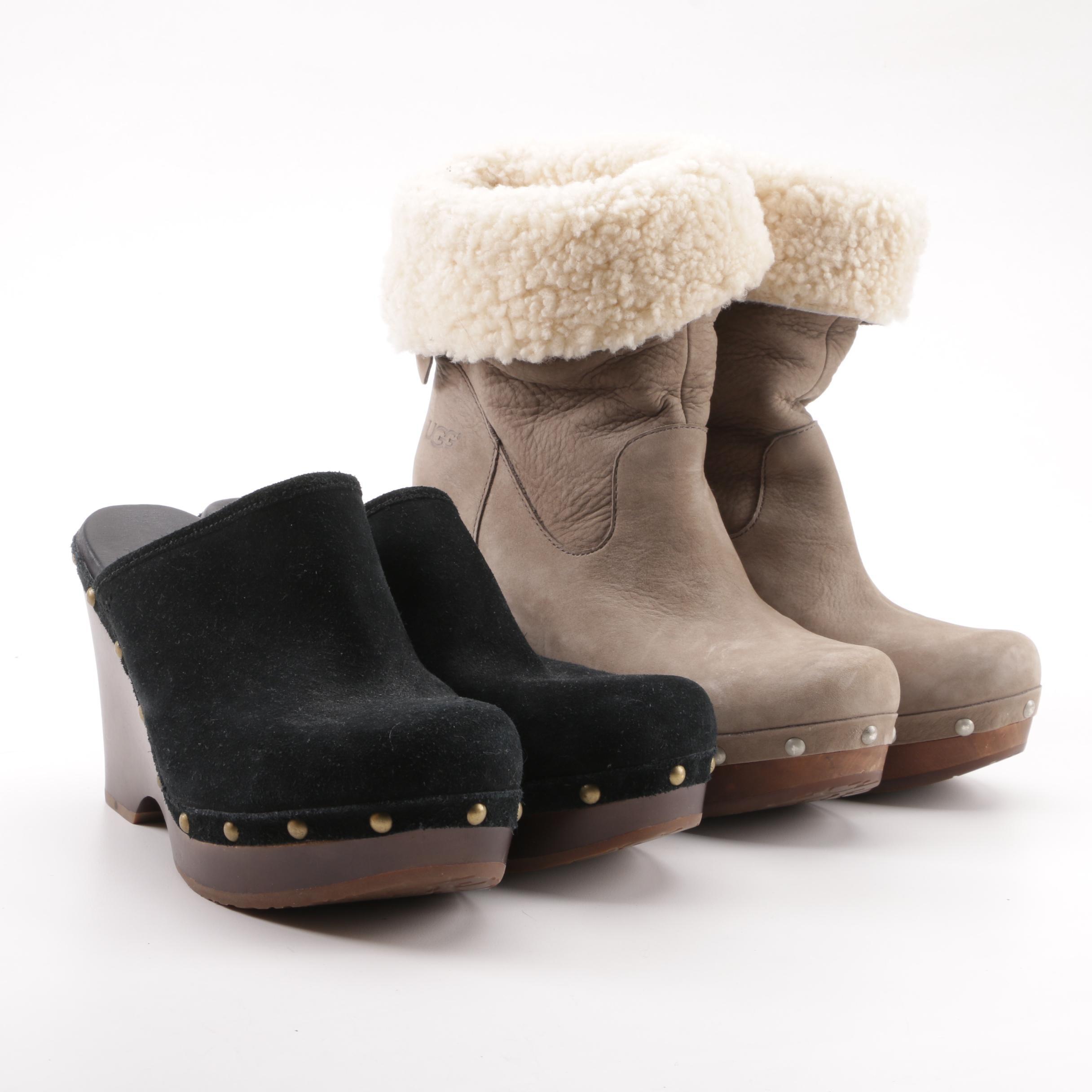 Women's Ugg Sheepskin Booties and Suede Clogs