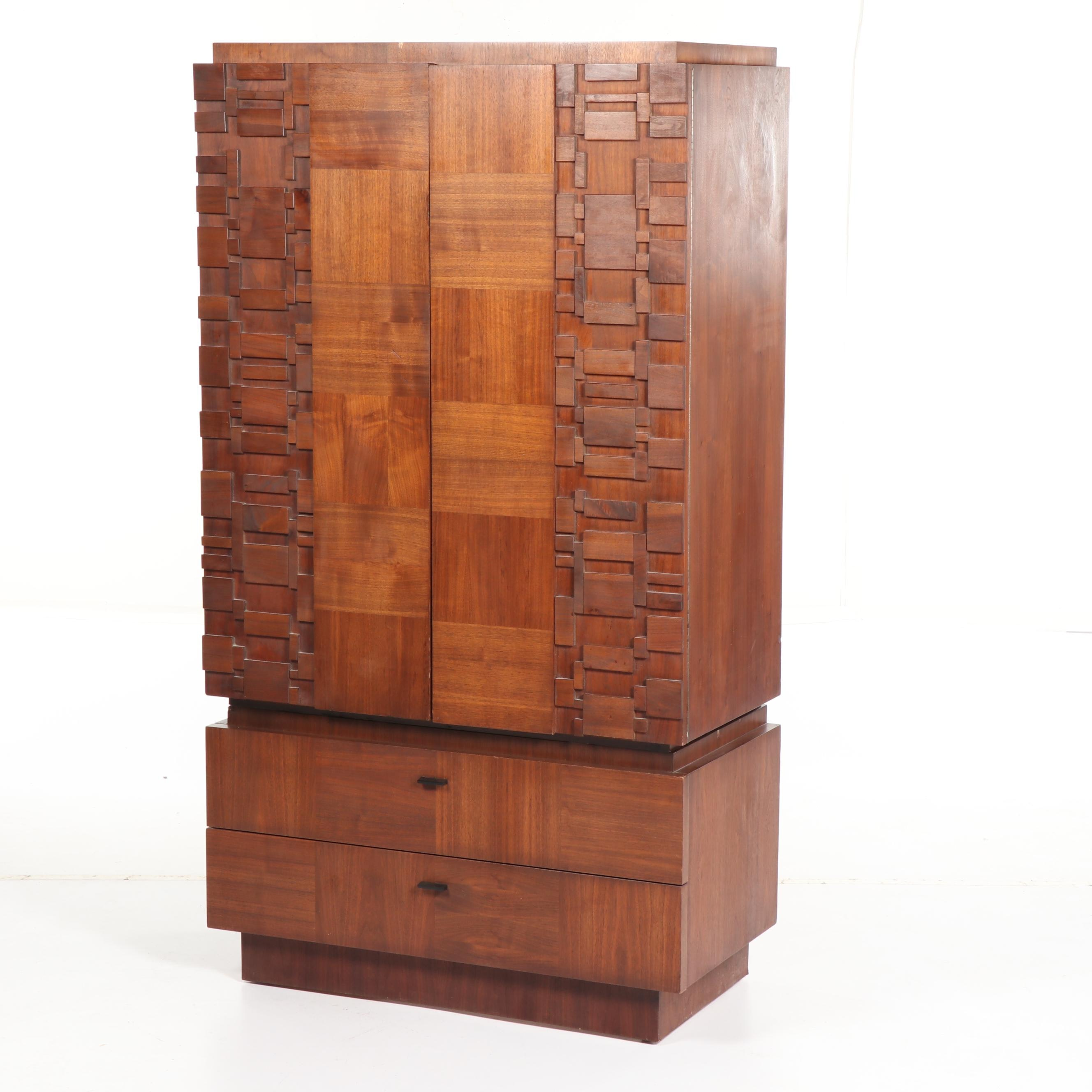 Brutalist Style Mixed Woods Wardrobe, Mid/ Late 20th Century
